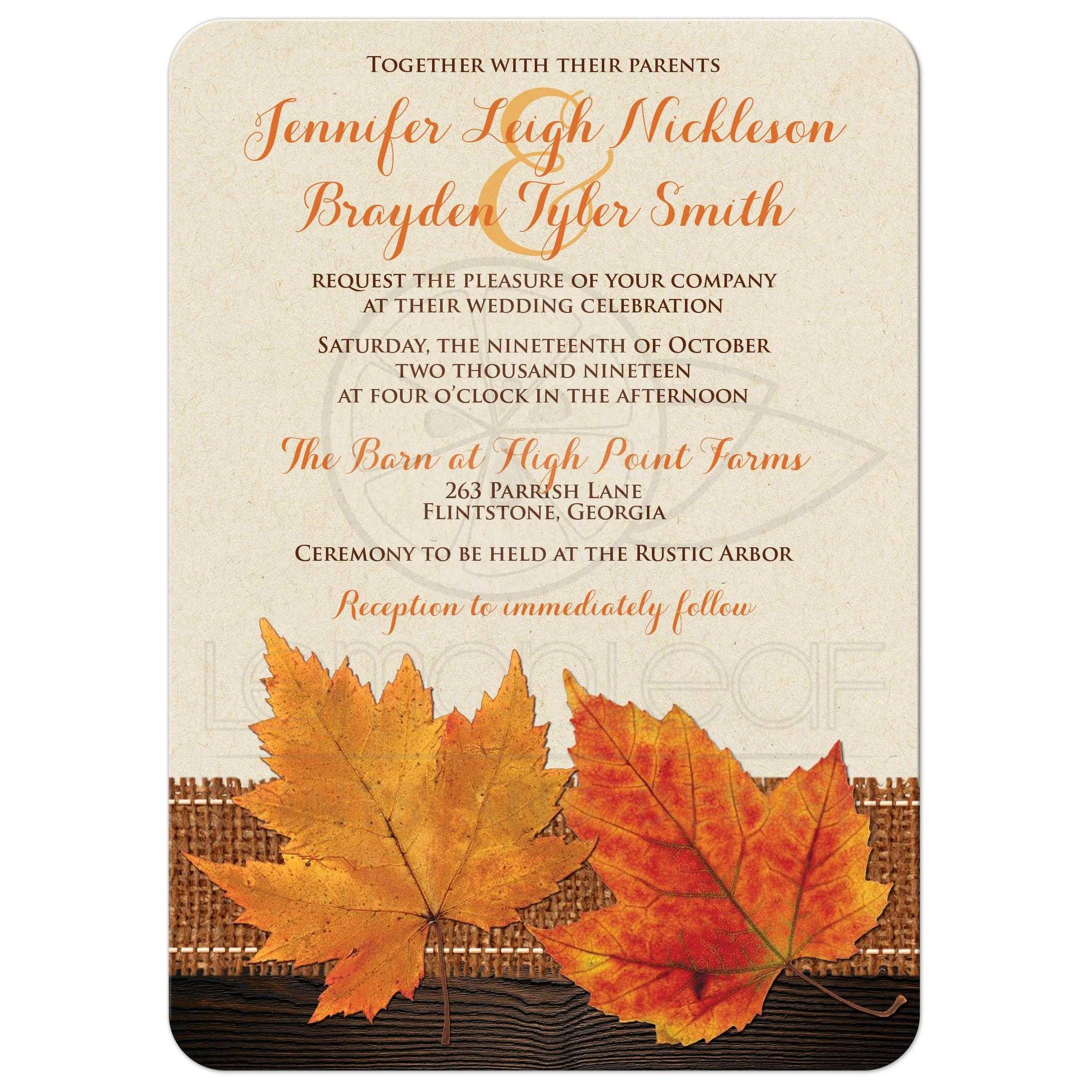 Fall Maple Leaves, Simulated Burlap and Wood Wedding Invite