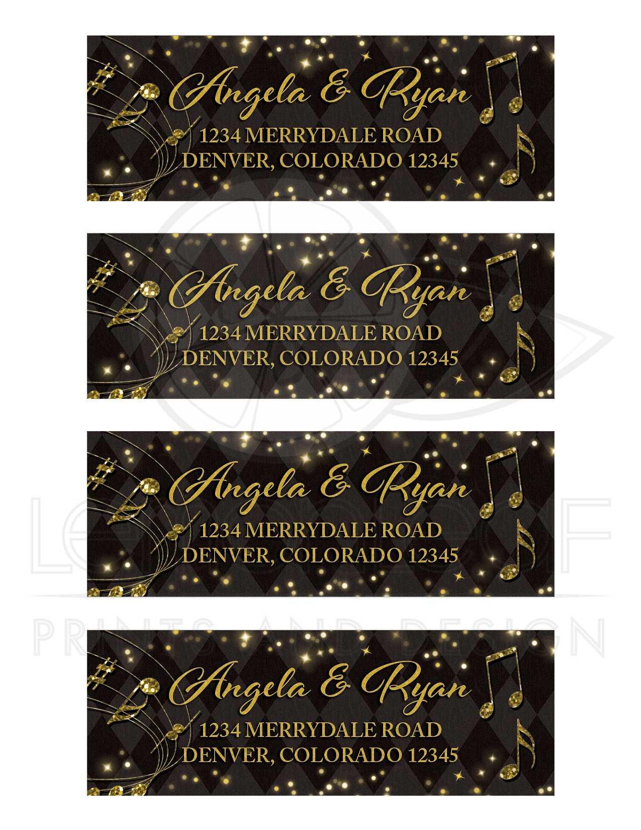 black gold harlequin music wedding address labels