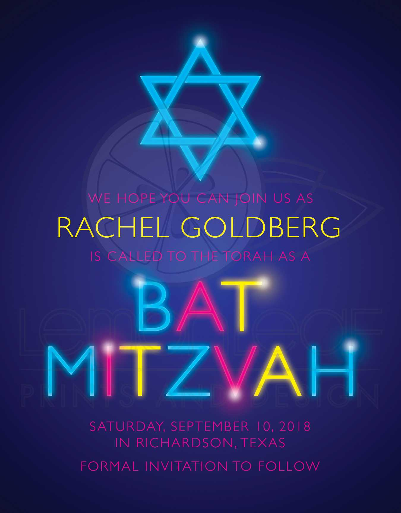 Glow Party Bat Mitzvah Save the Date Glow in the Dark Neon