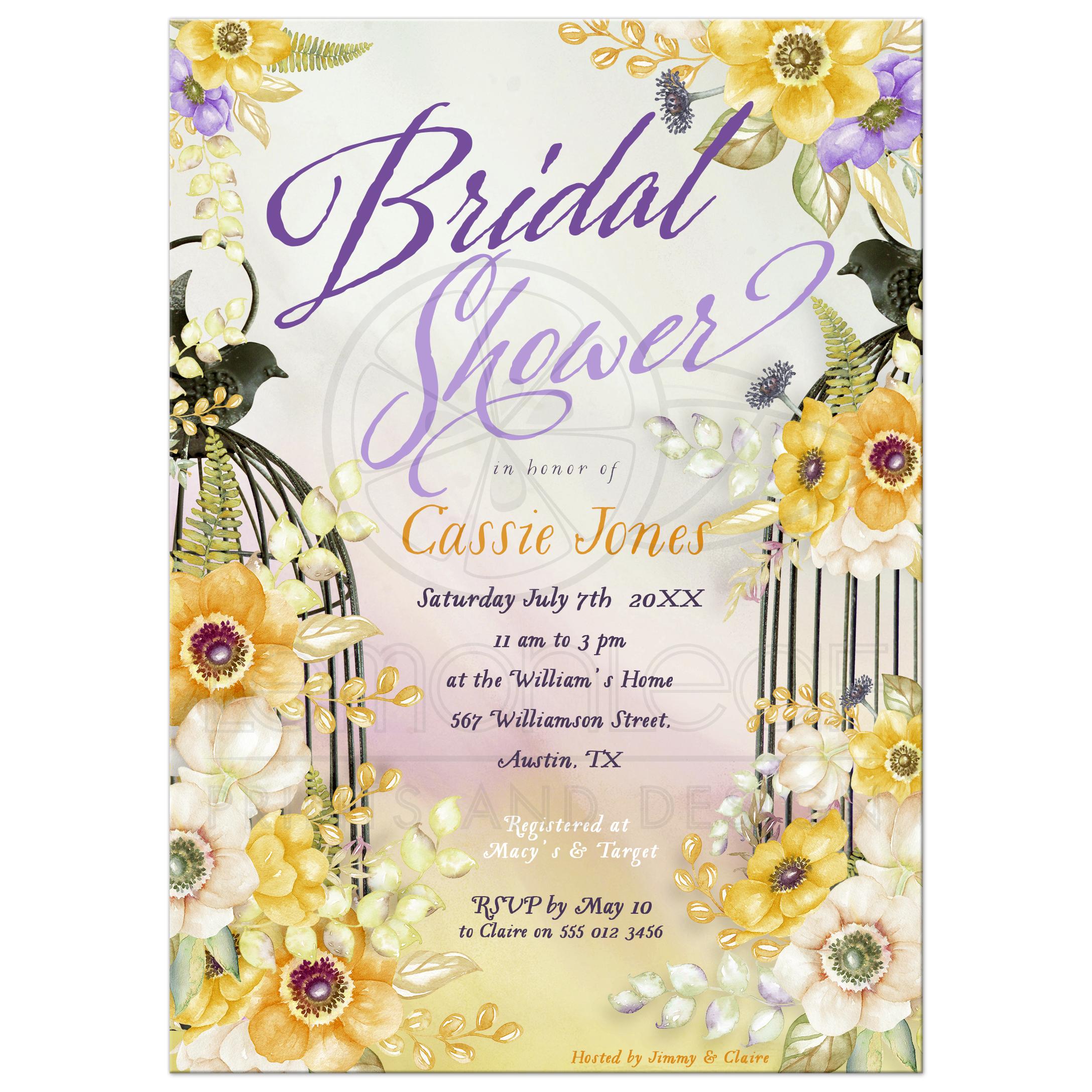 Floral Birdcage Bridal Shower Invitation   Yellow Orange & Purple