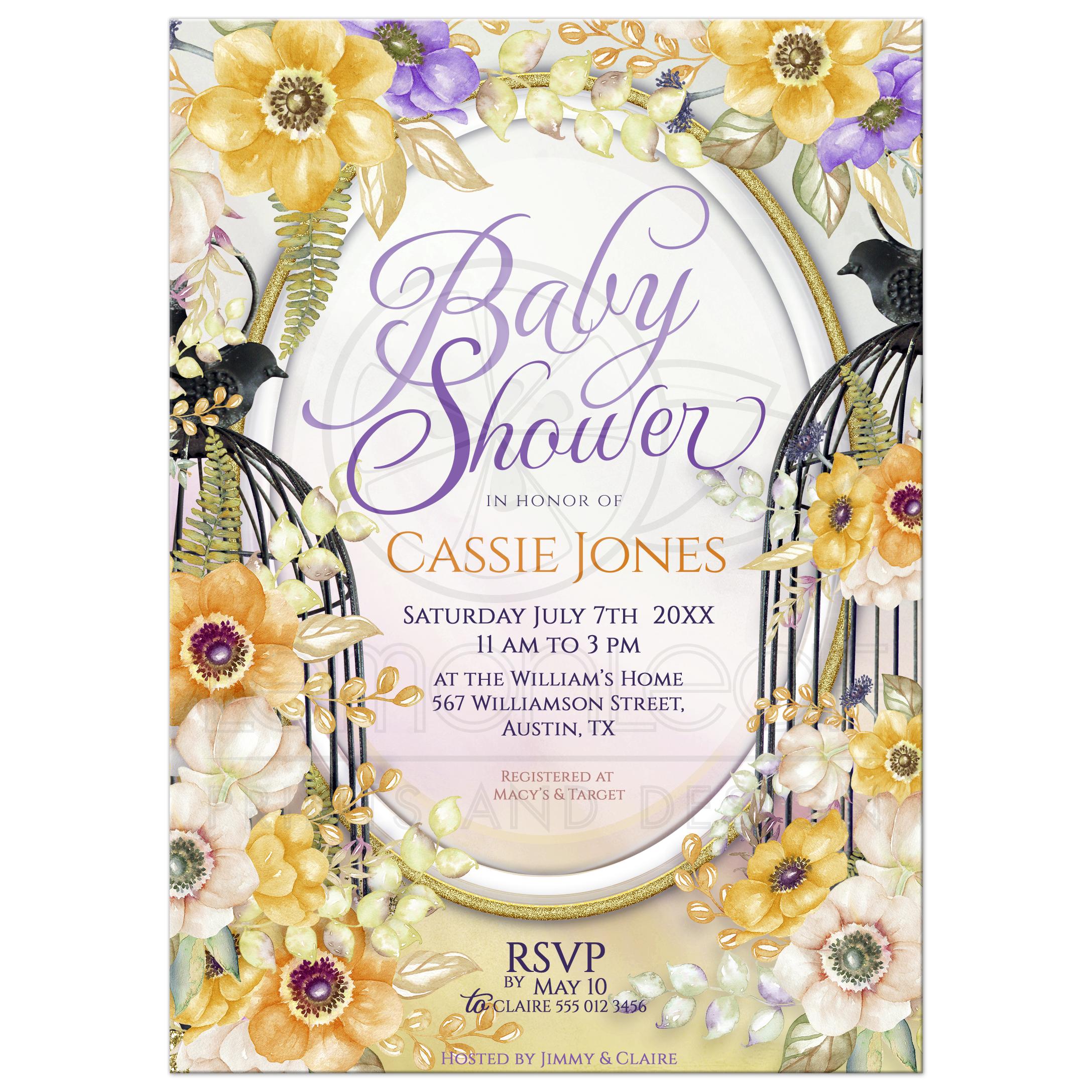 Floral Birdcage Baby Shower Invitation | Orange+Purple Flowers