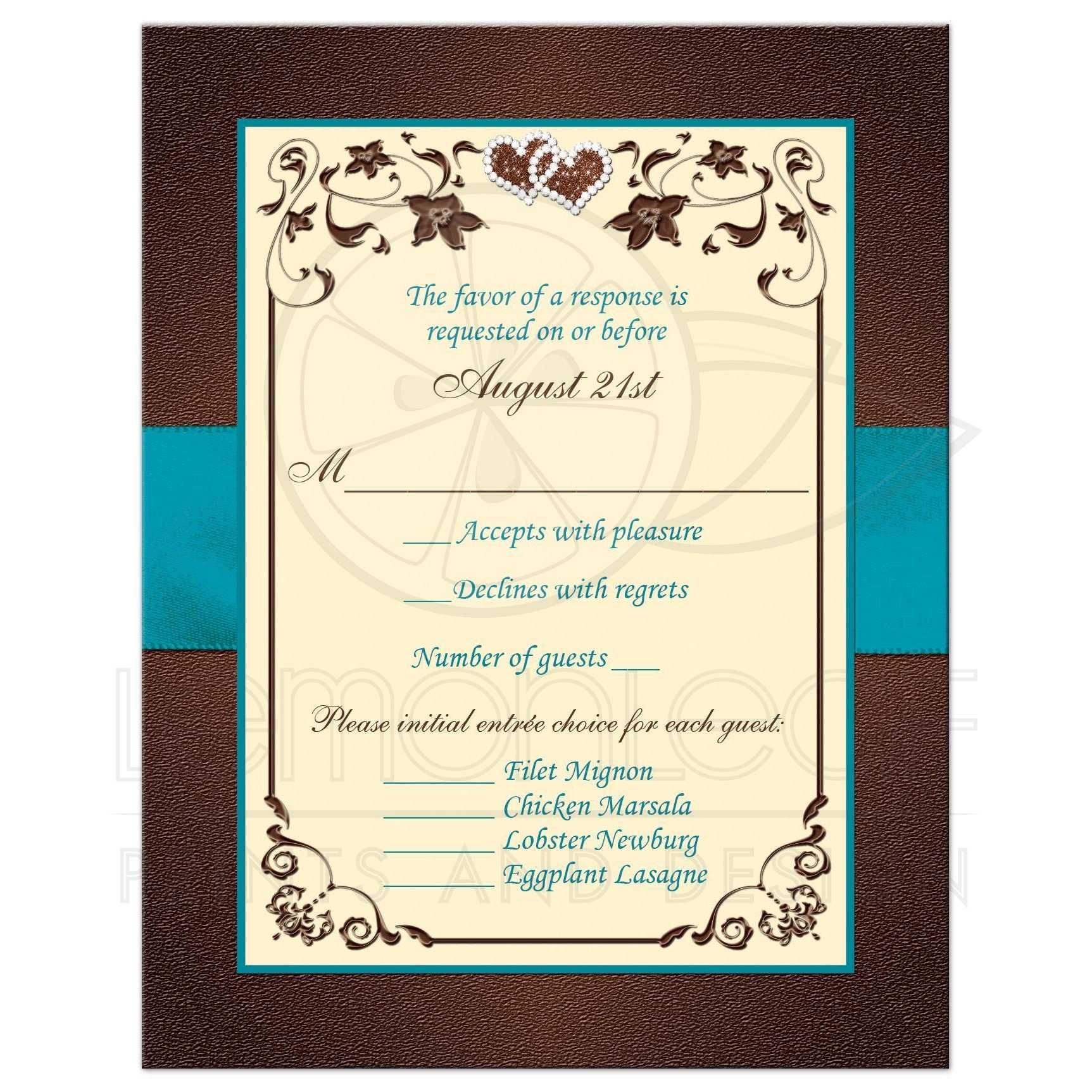 Brown, Teal, Cream Floral Wedding RSVP | PRINTED Embellishments
