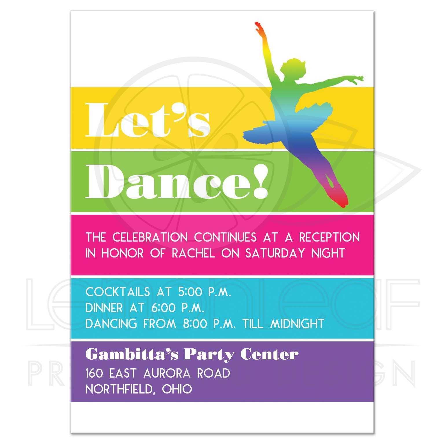 modern let s dance dancer neon striped bat mitzvah party invite