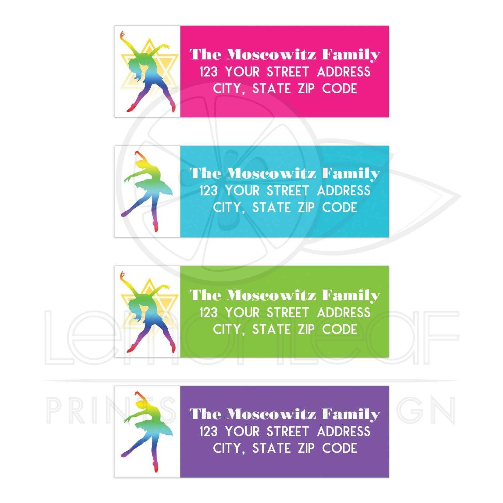 modern dance dancer dancing bat mitzvah address labels