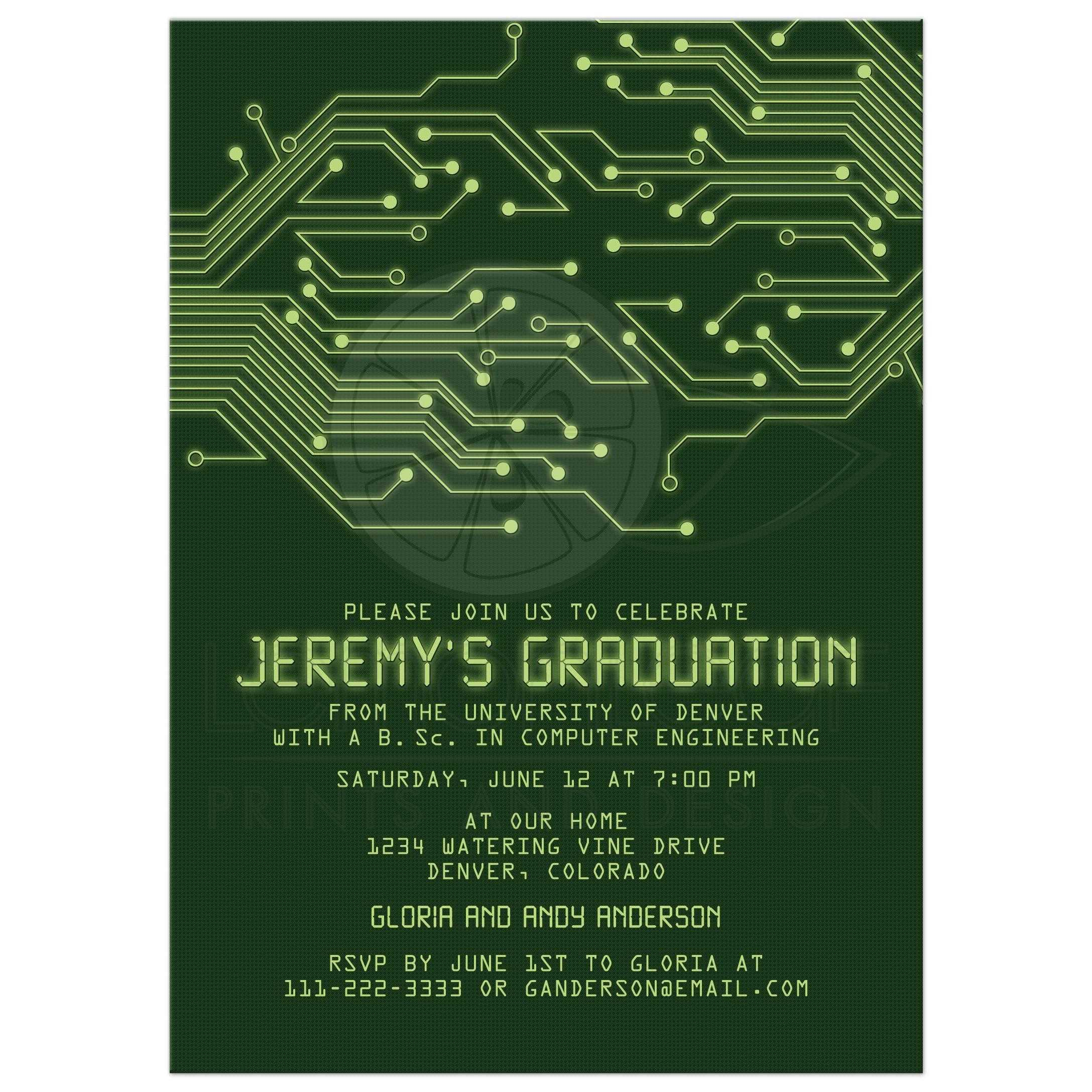 computer circuit board graduation invitation electronics electrical