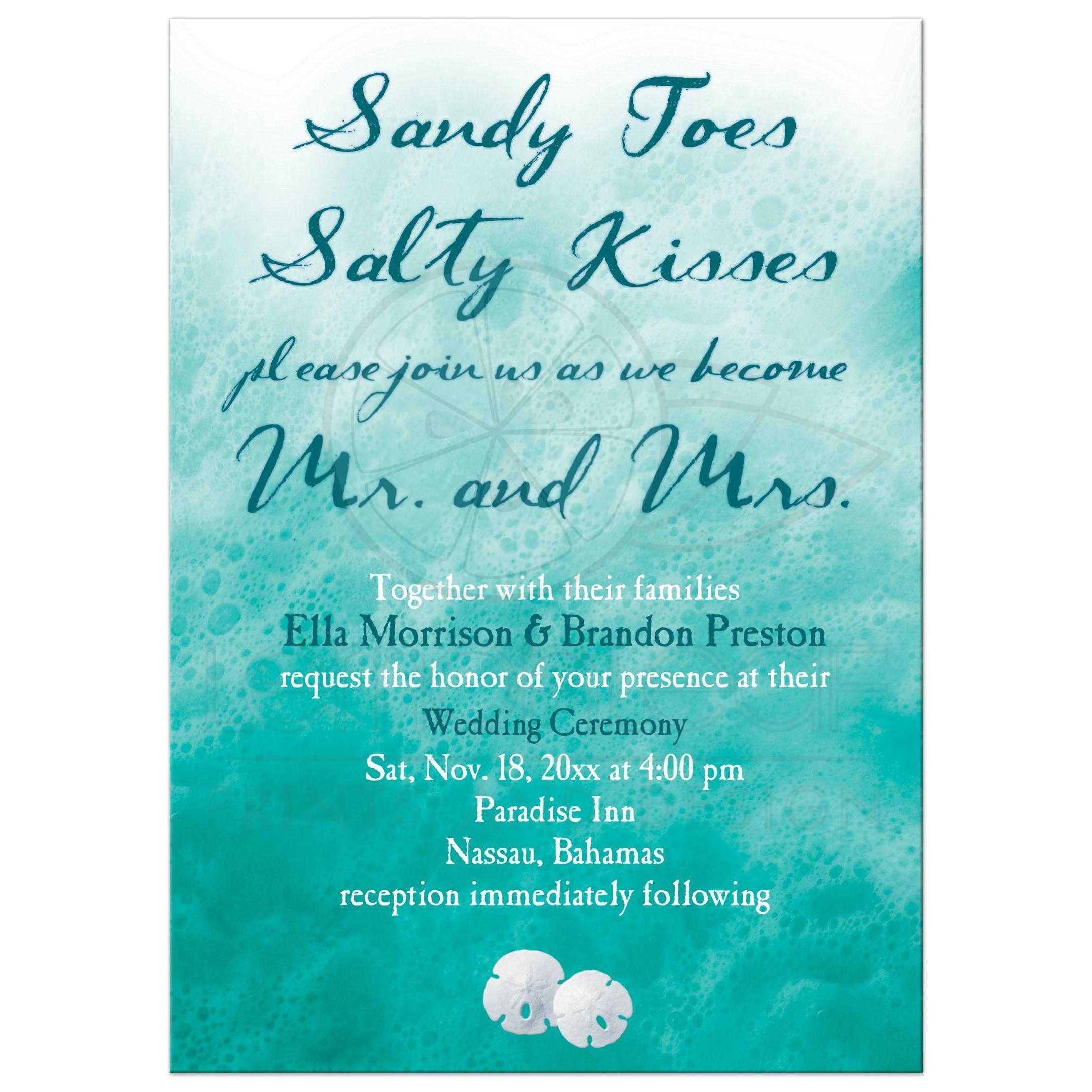 Wedding Invitation Turquoise Ocean Waves And Beach Sand