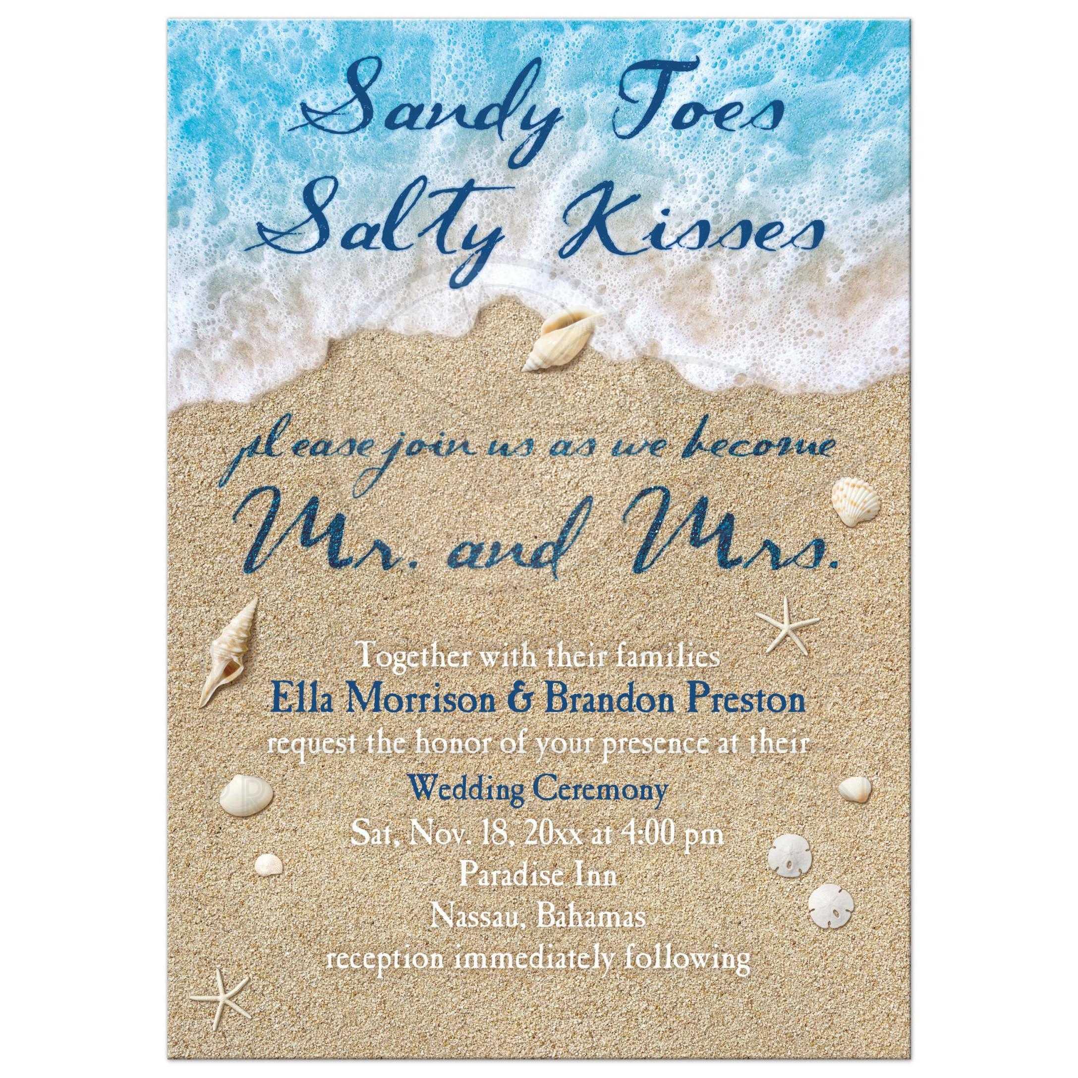 wedding invitation 2 ocean waves and beach sand
