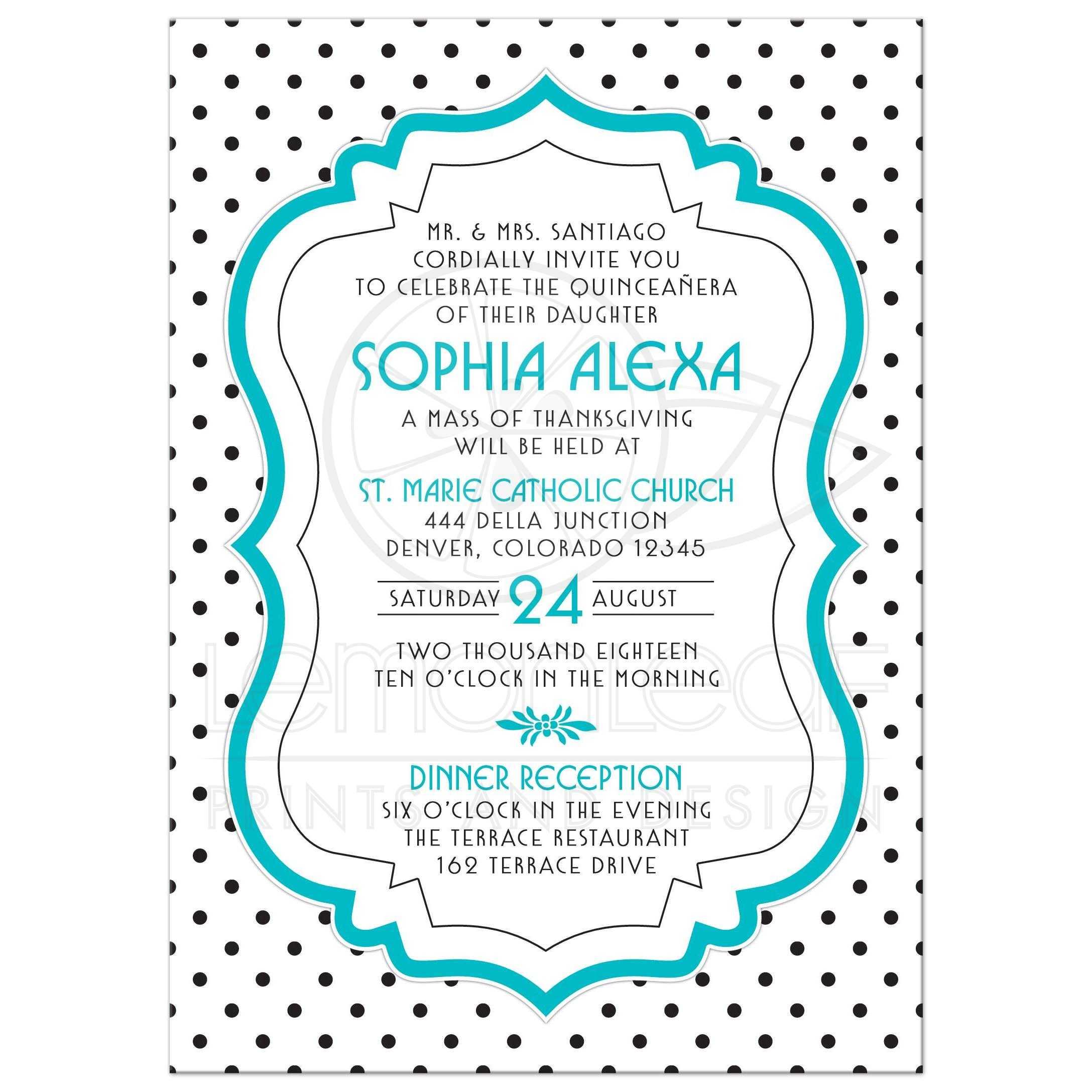 c70804cc93 Black White Turquoise Polka Dot Quinceanera Invitation