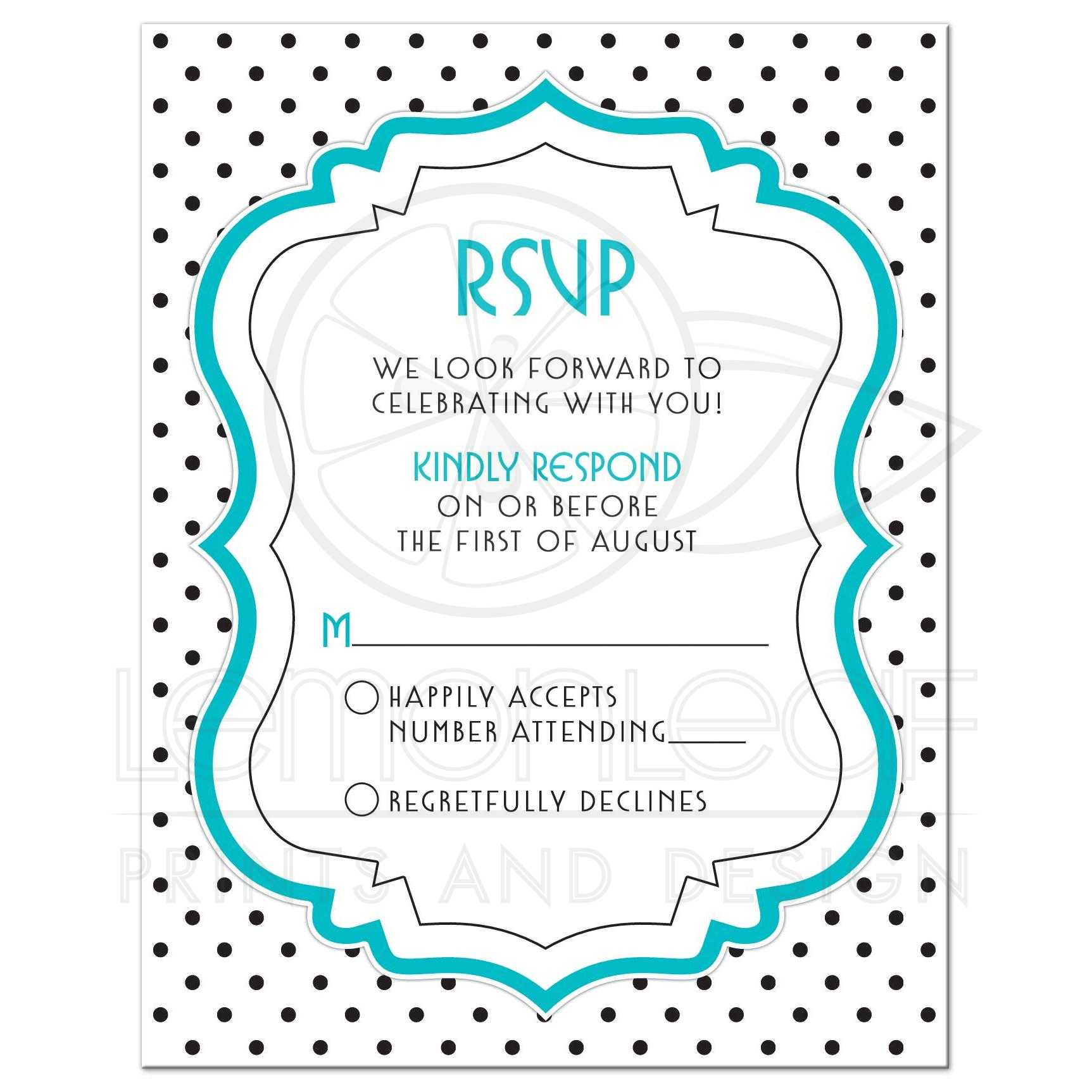 Black White Turquoise Polka Dot Quinceanera RSVP Card