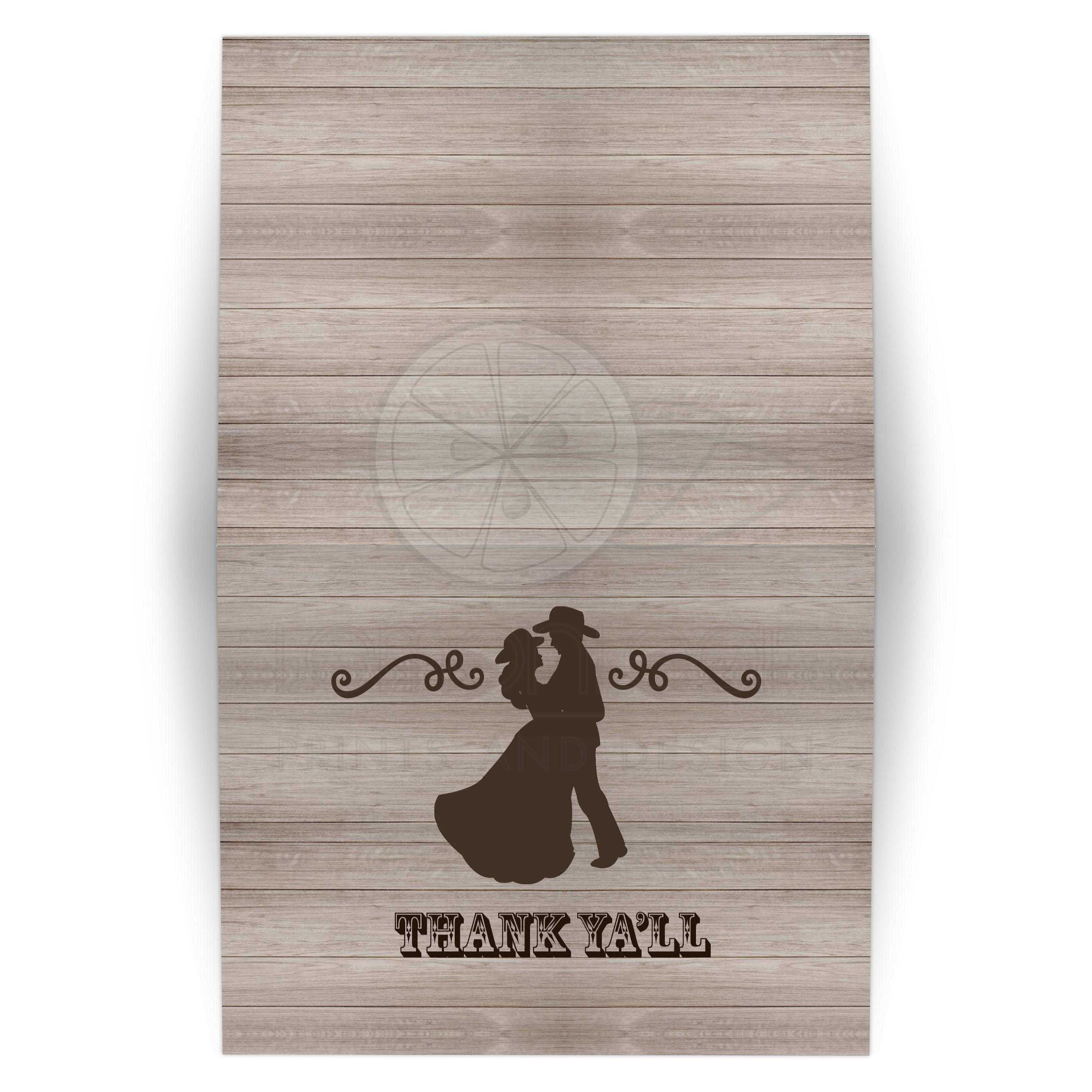 Country Western Dancing Couple Rustic Wedding Invitation Folded