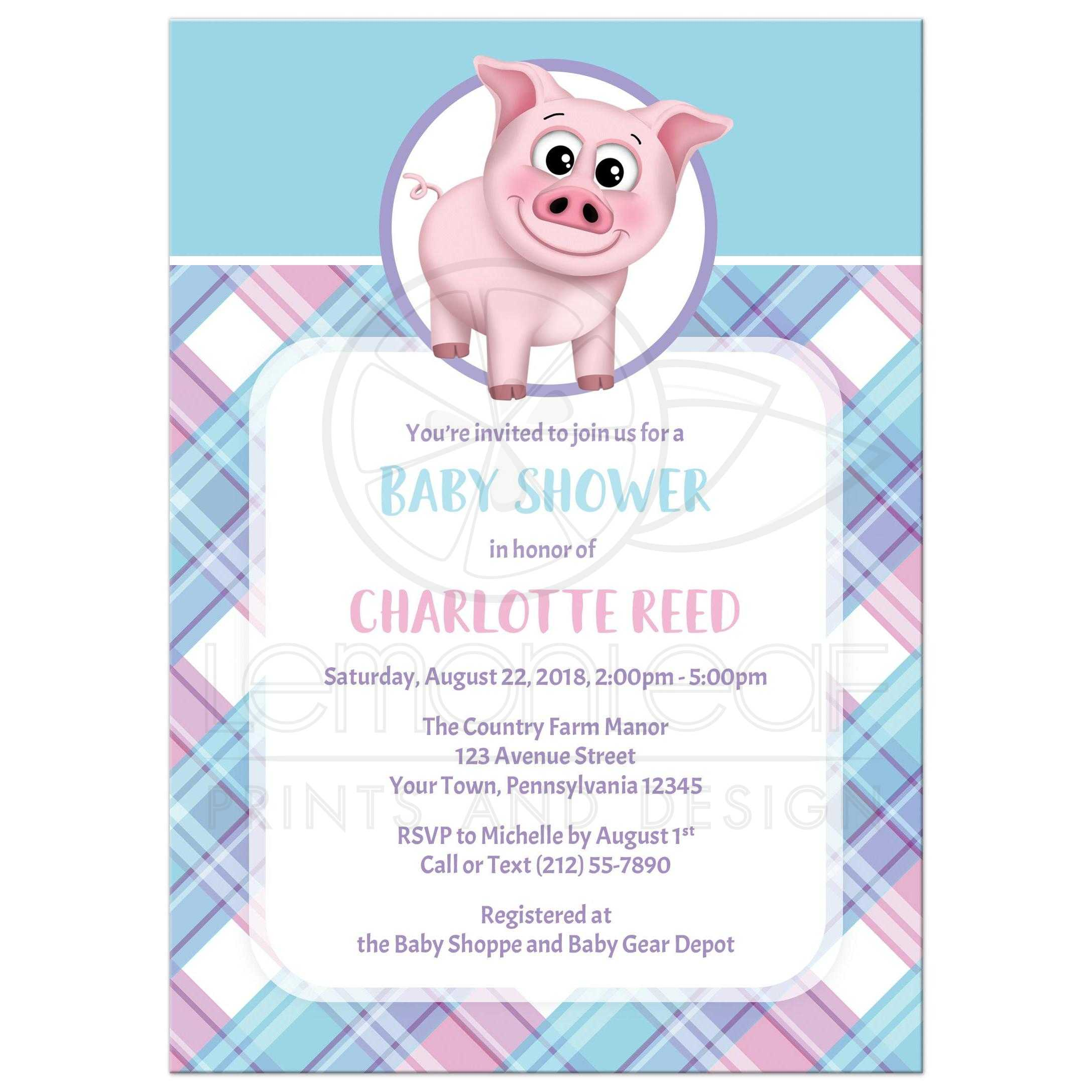 53653 Rectangle Hy Pig Pink Blue And Purple Plaid Baby Shower Invitations Jpg T 1523559243