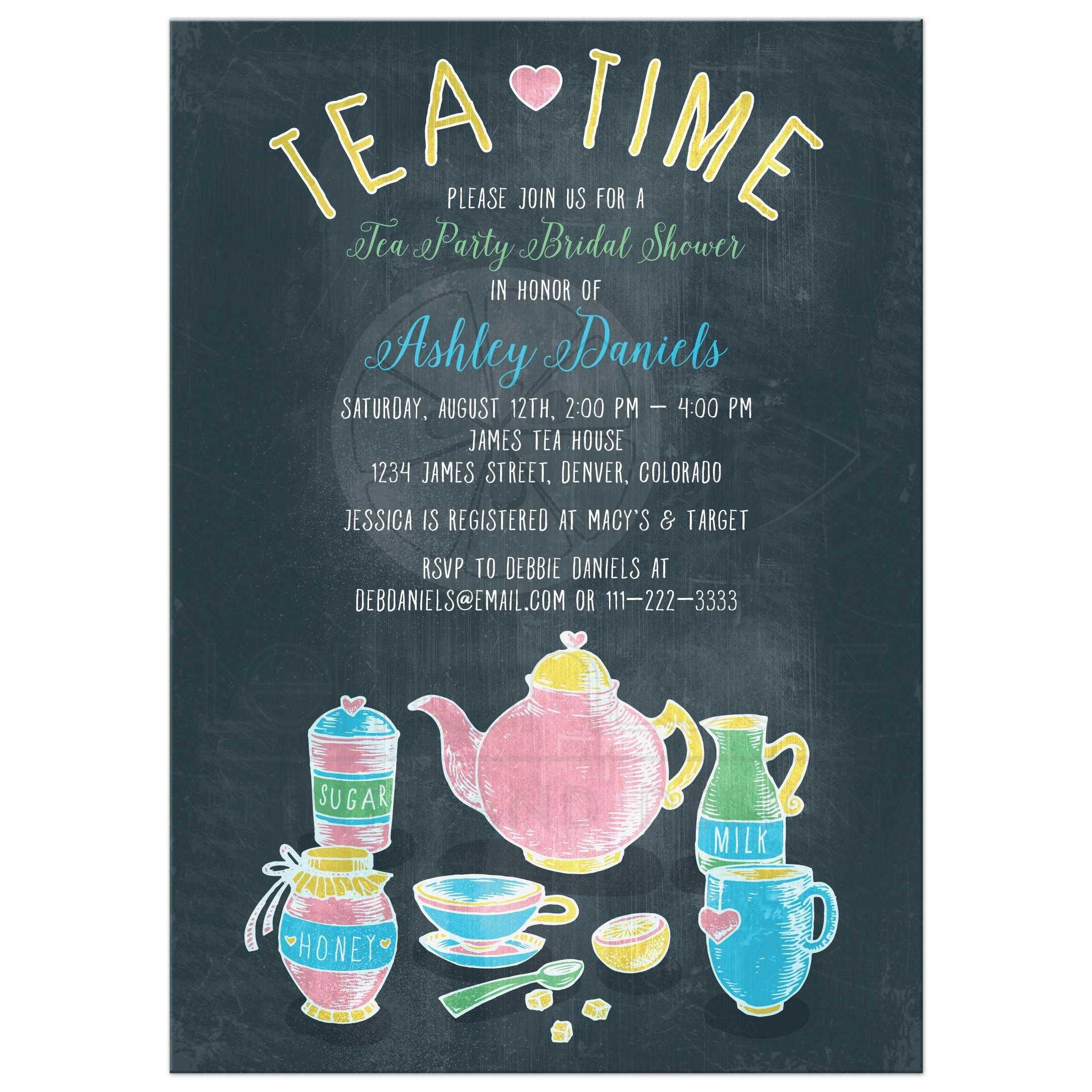 Colorful Chalkboard Tea Party Bridal Shower Invitation