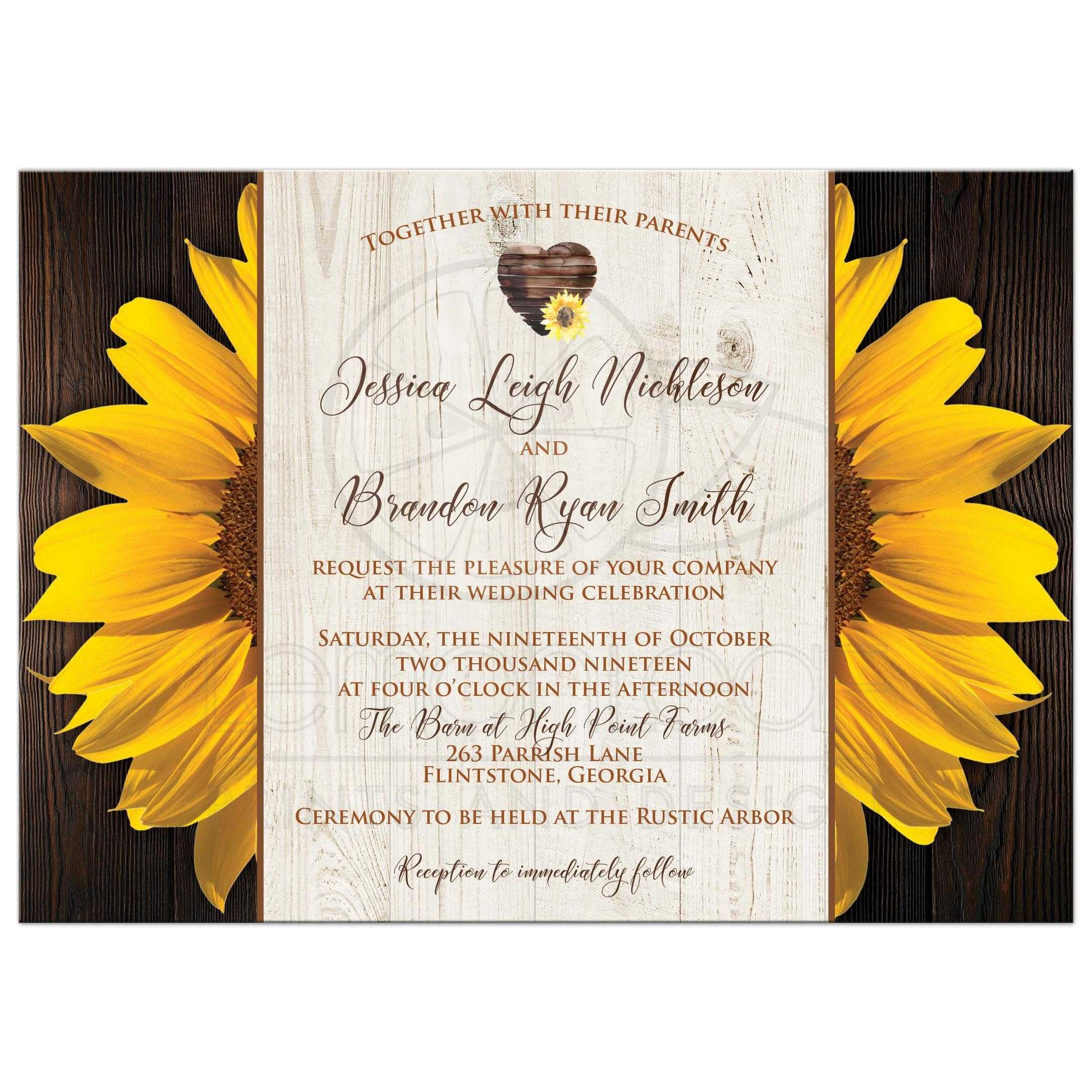 Sunflowers on Wood Grain Wedding Invitation with Heart