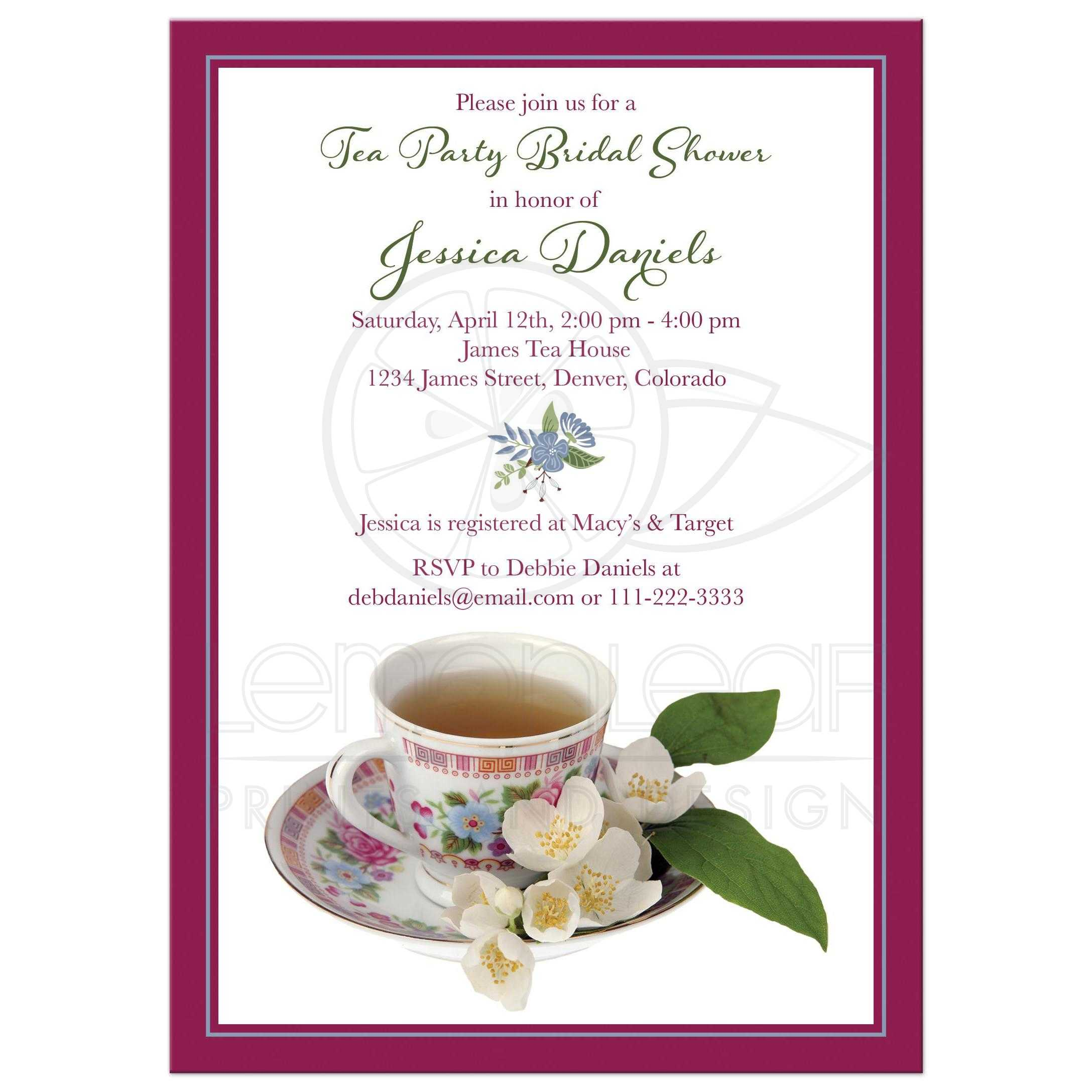 Vintage Tea Party Bridal Shower Invitation China Teacup Flowers