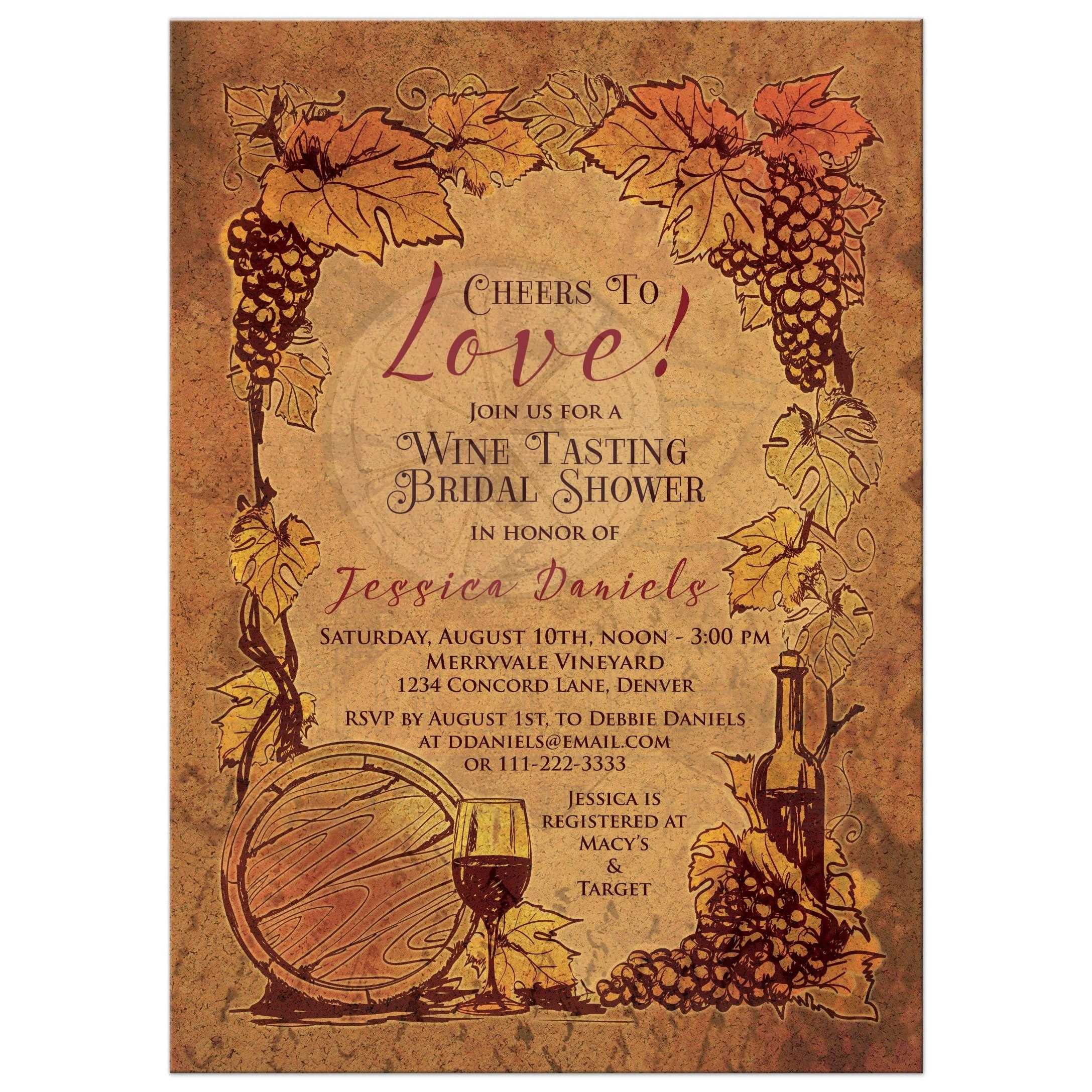 rustic vineyard wine tasting bridal shower invitation front