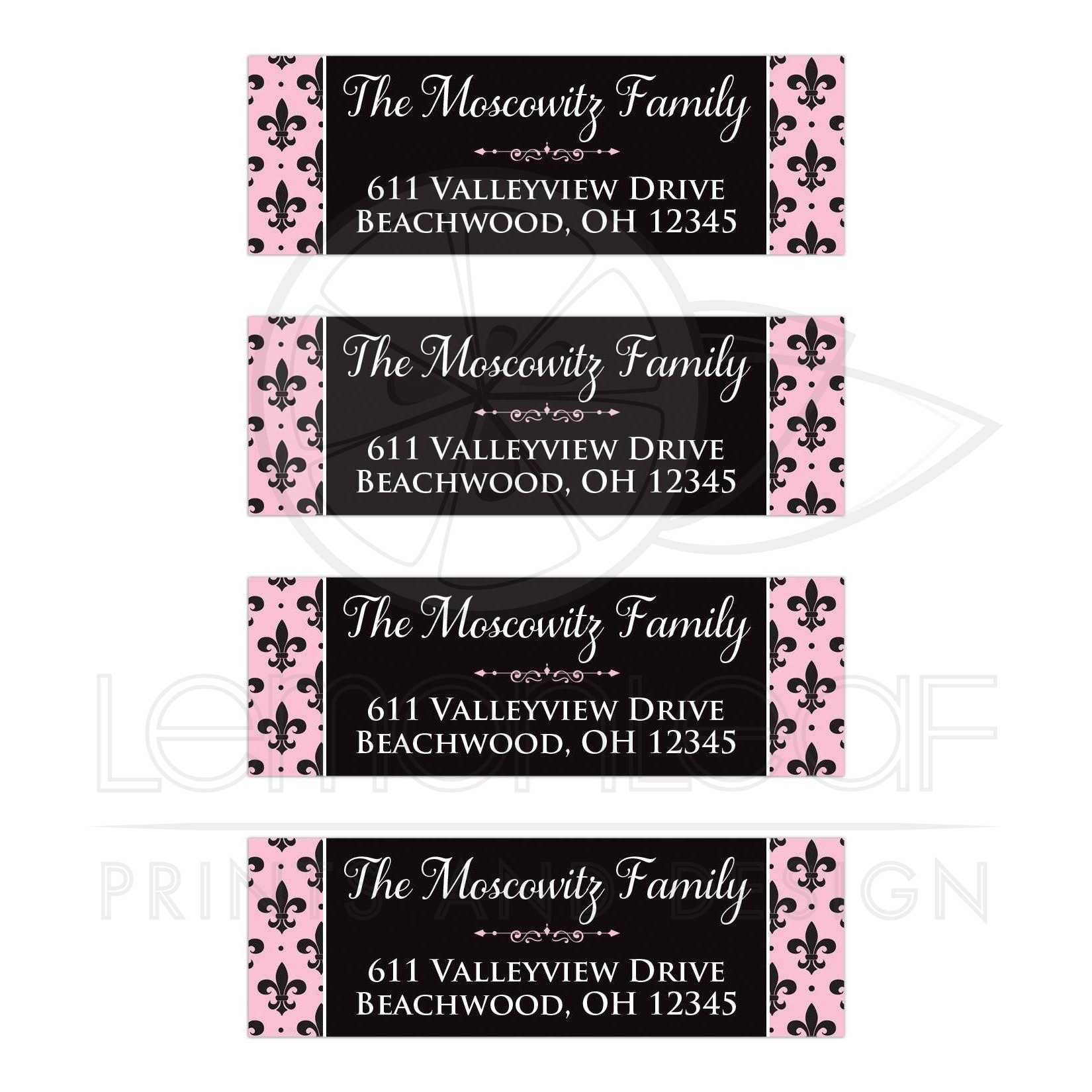 pink black and white return address mailing labels with the french fleur