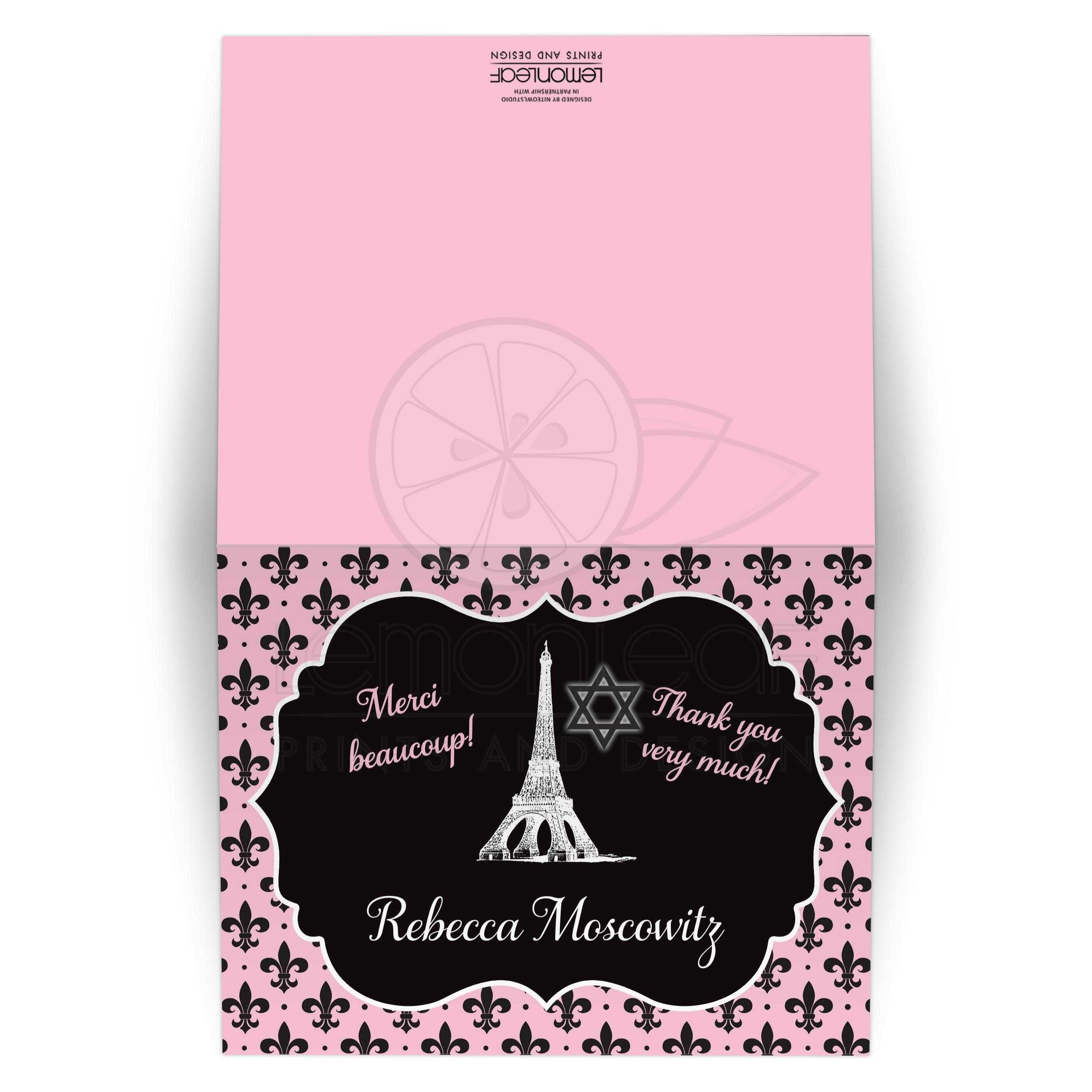 Black White And Pink Night In Paris Themed Bat Mitzvah Thank You Note Card