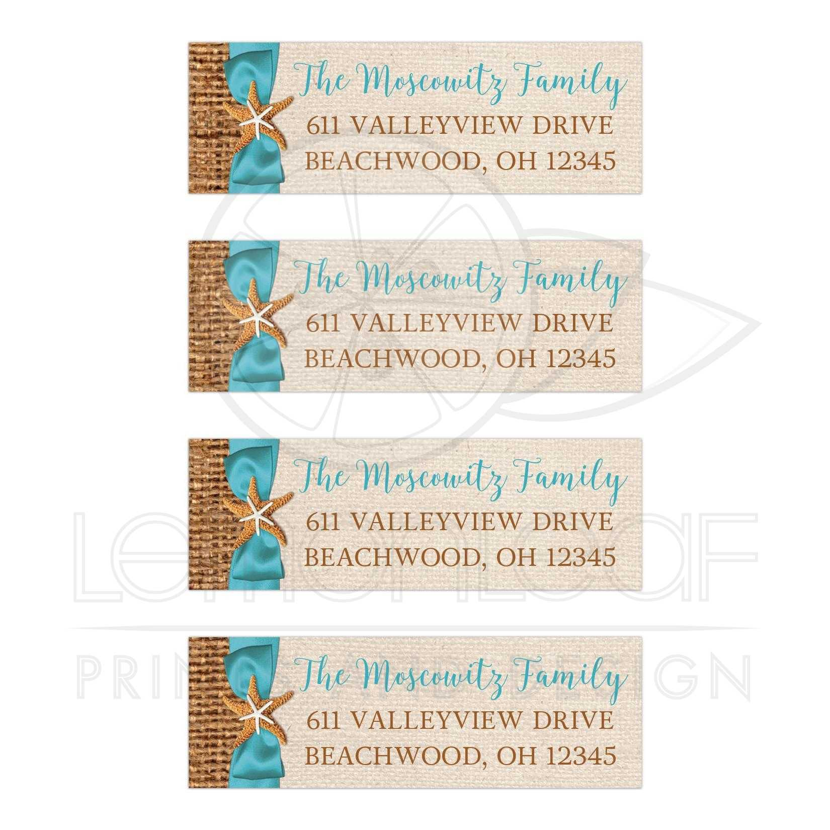 Personalized Rustic Beach Theme Address Labels With Turquoise Blue Ribbon And Bow Two Starfish On