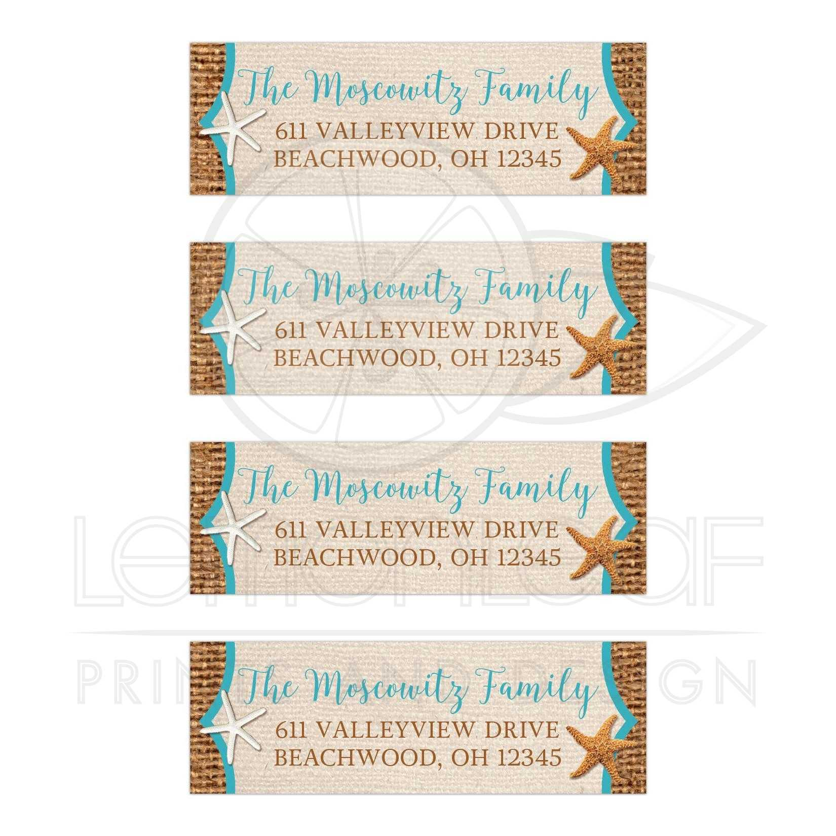 Personalized Rustic Beach Theme Address Labels With Brown Burlap And Tan Linen Look Background Turquoise