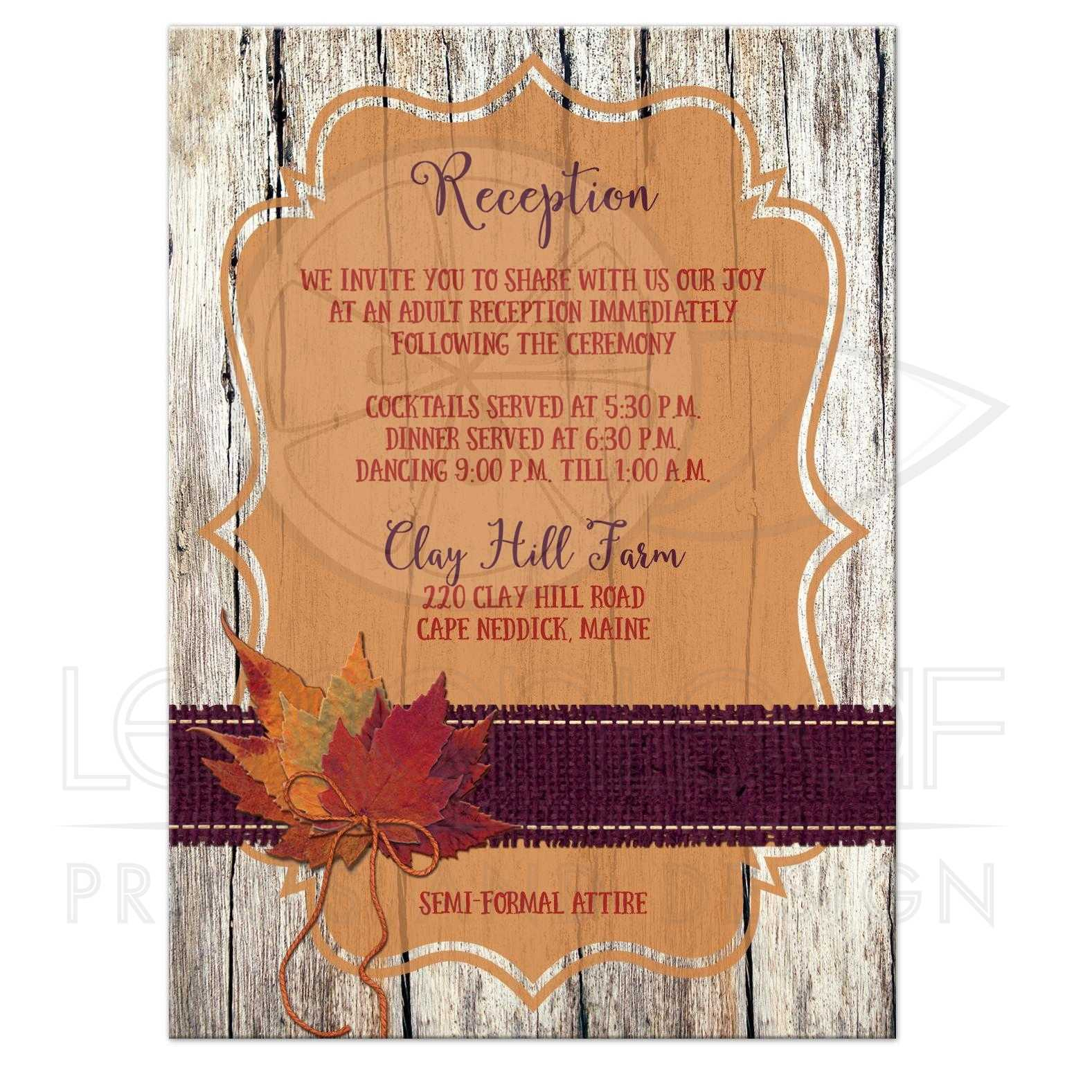 Autumn Wedding Reception Enclosure Card Faux Burlap Leaves Wood