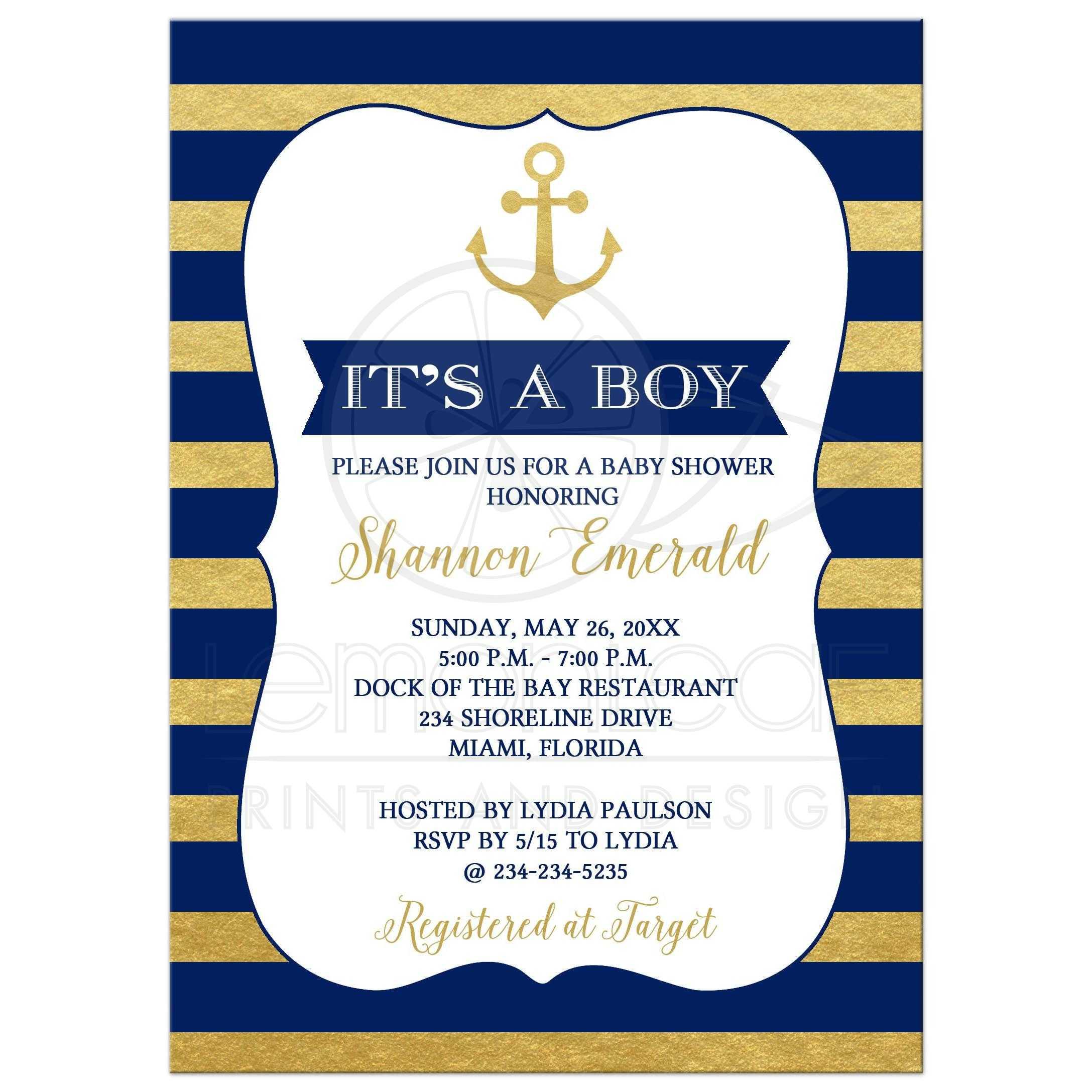 1ee6ba6da296 Anchor Nautical Gold and Navy Blue Stripe Boy Baby Shower Invitation