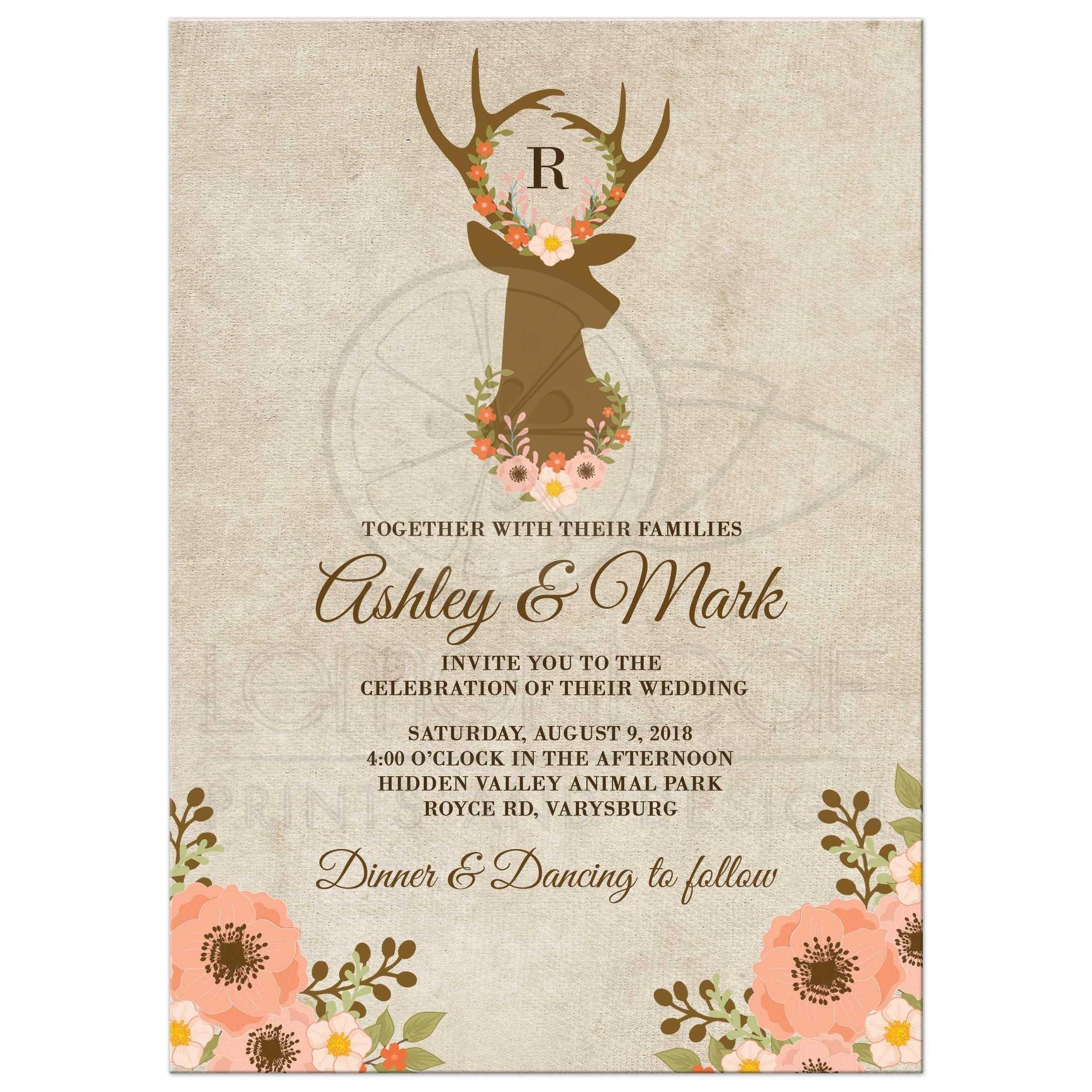 Floral Deer Antler Rustic Wedding Invitations: Sunflower Wedding Invitations Rustic Antlers At Reisefeber.org