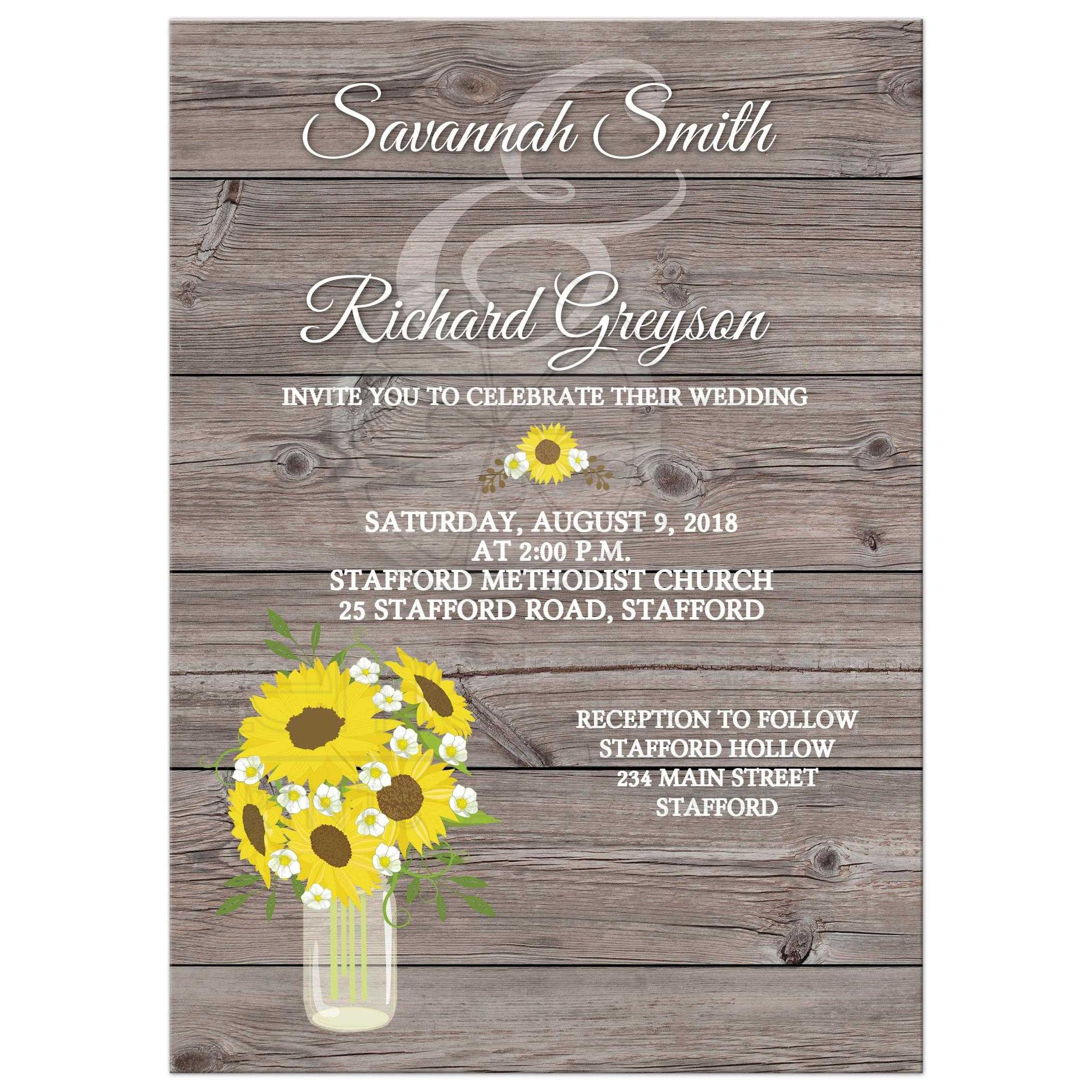 Sunflower In Mason Jar Barn Wood Wedding Invitations