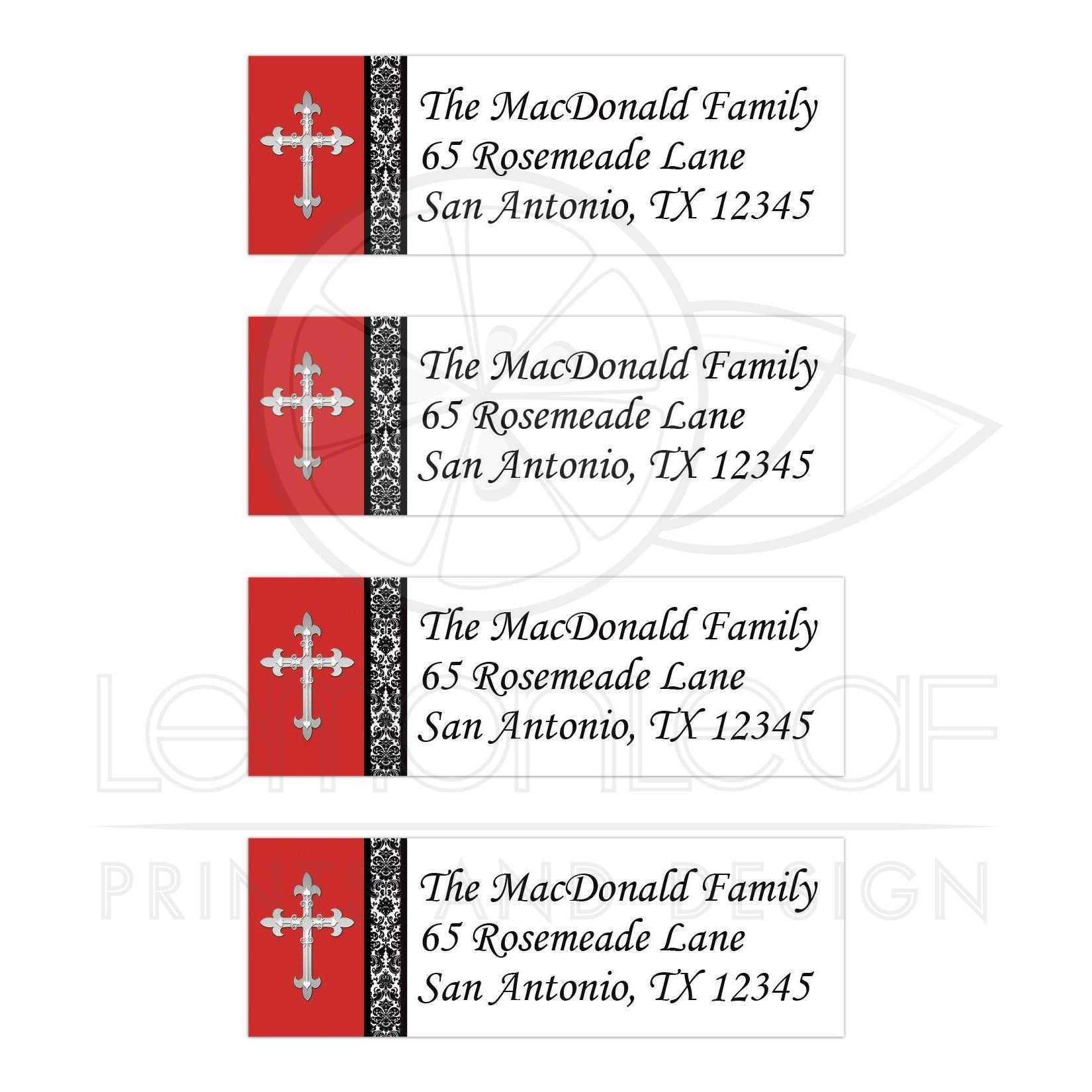 personalized black white and red damask address labels silver cross