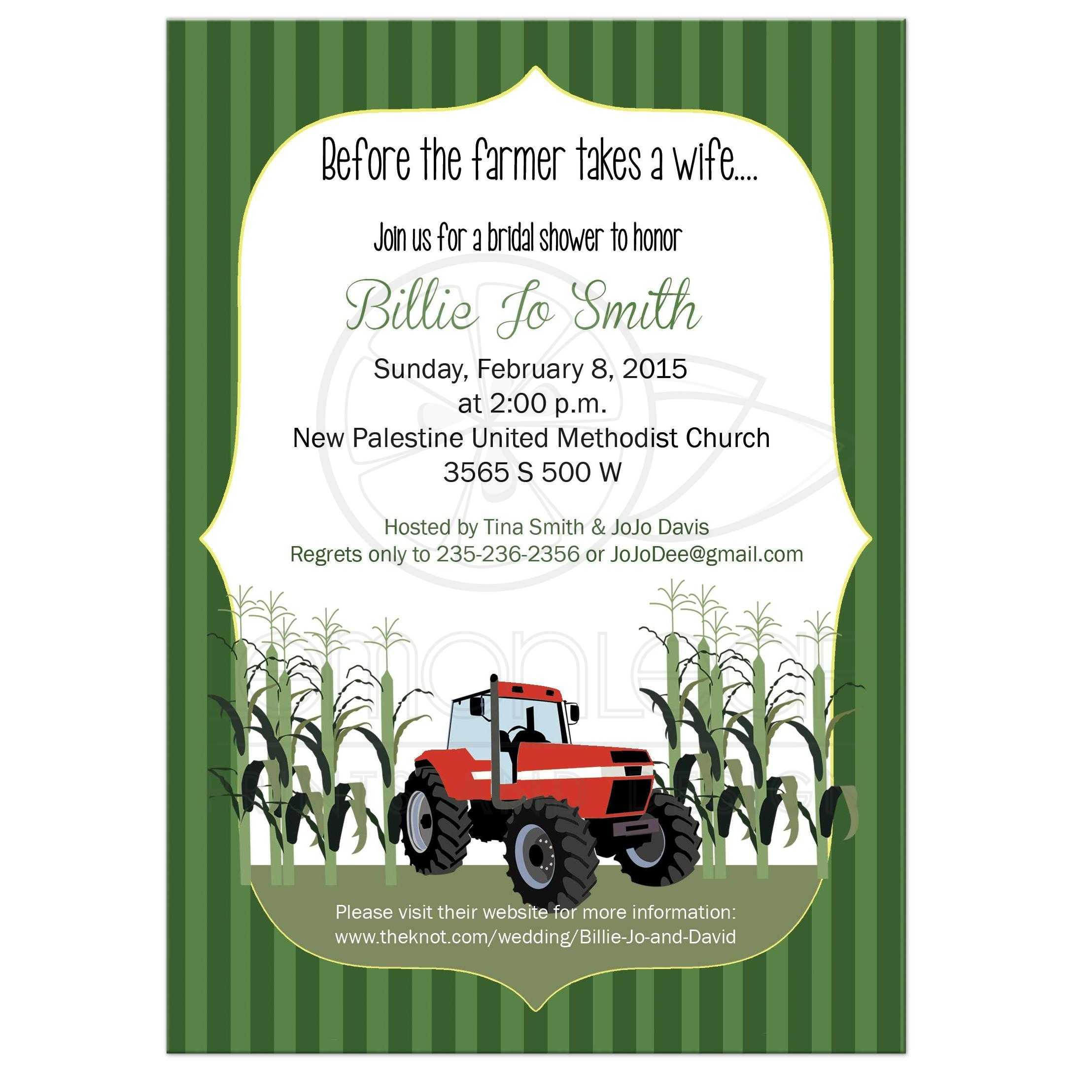 Red Tractor Farmer Bridal Shower Invitation