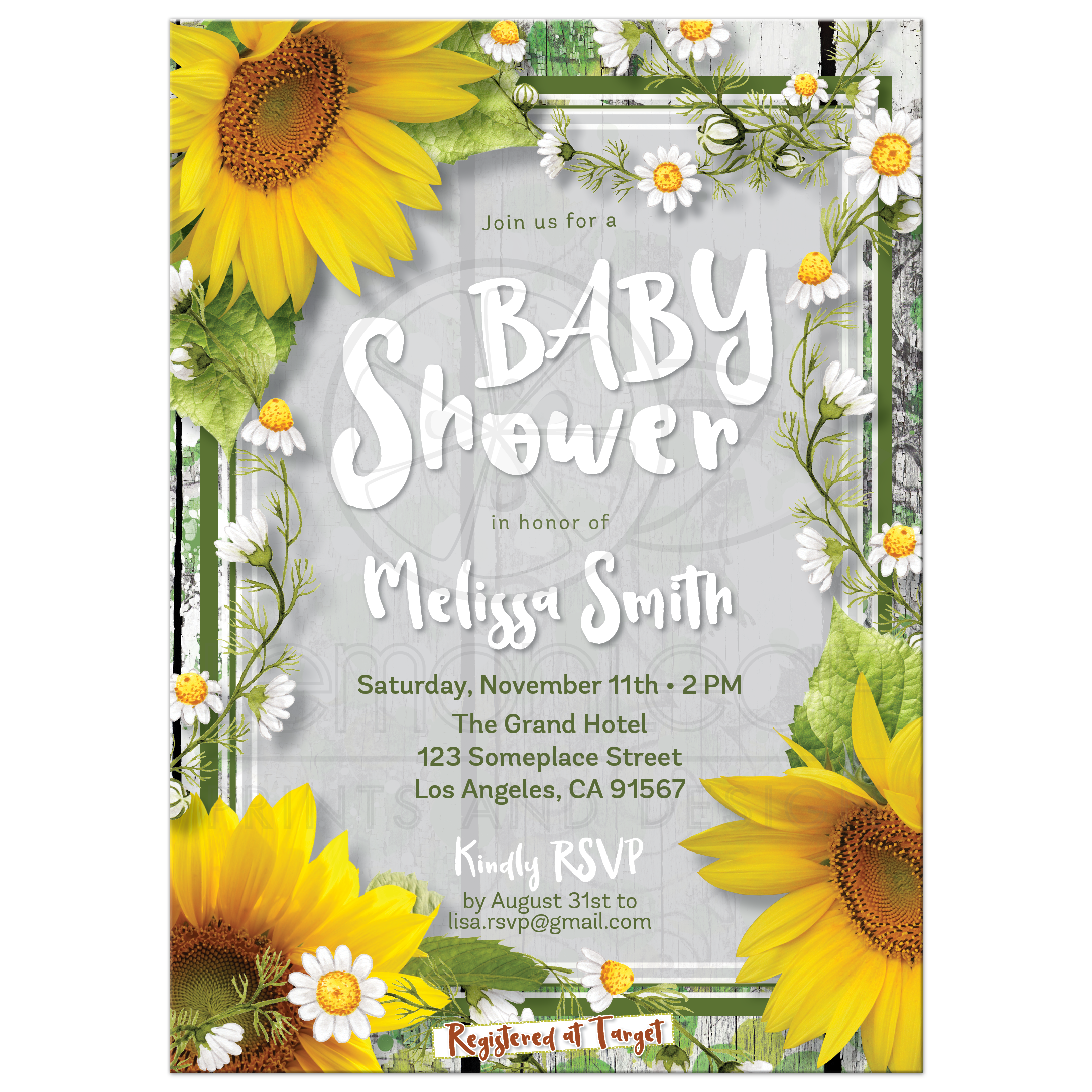 Urban Modern Rustic Sunflowers Baby Shower