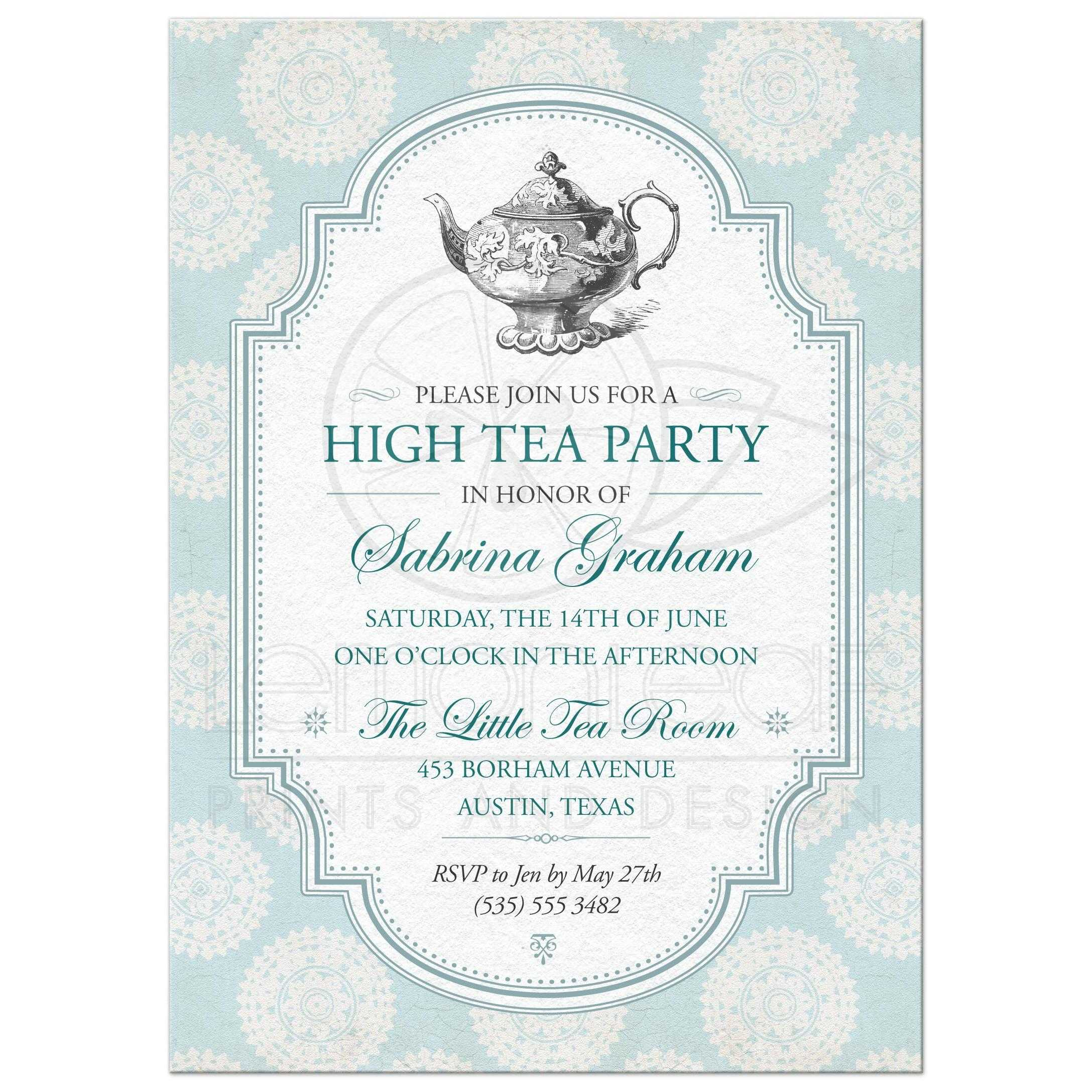 victorian high tea bridal shower party invitation blue rosettes