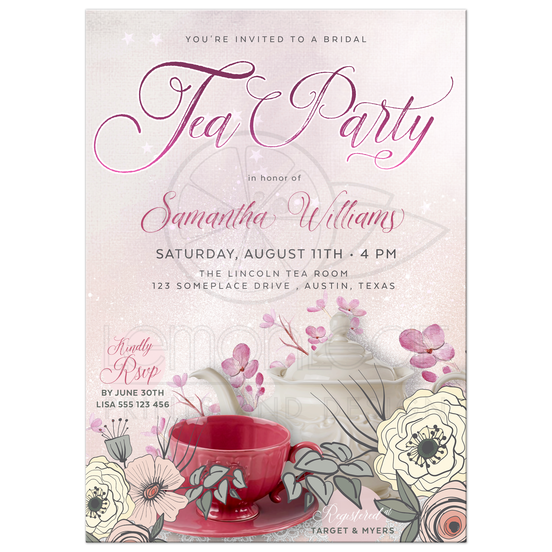 vintage china and pink flowers tea party invitation
