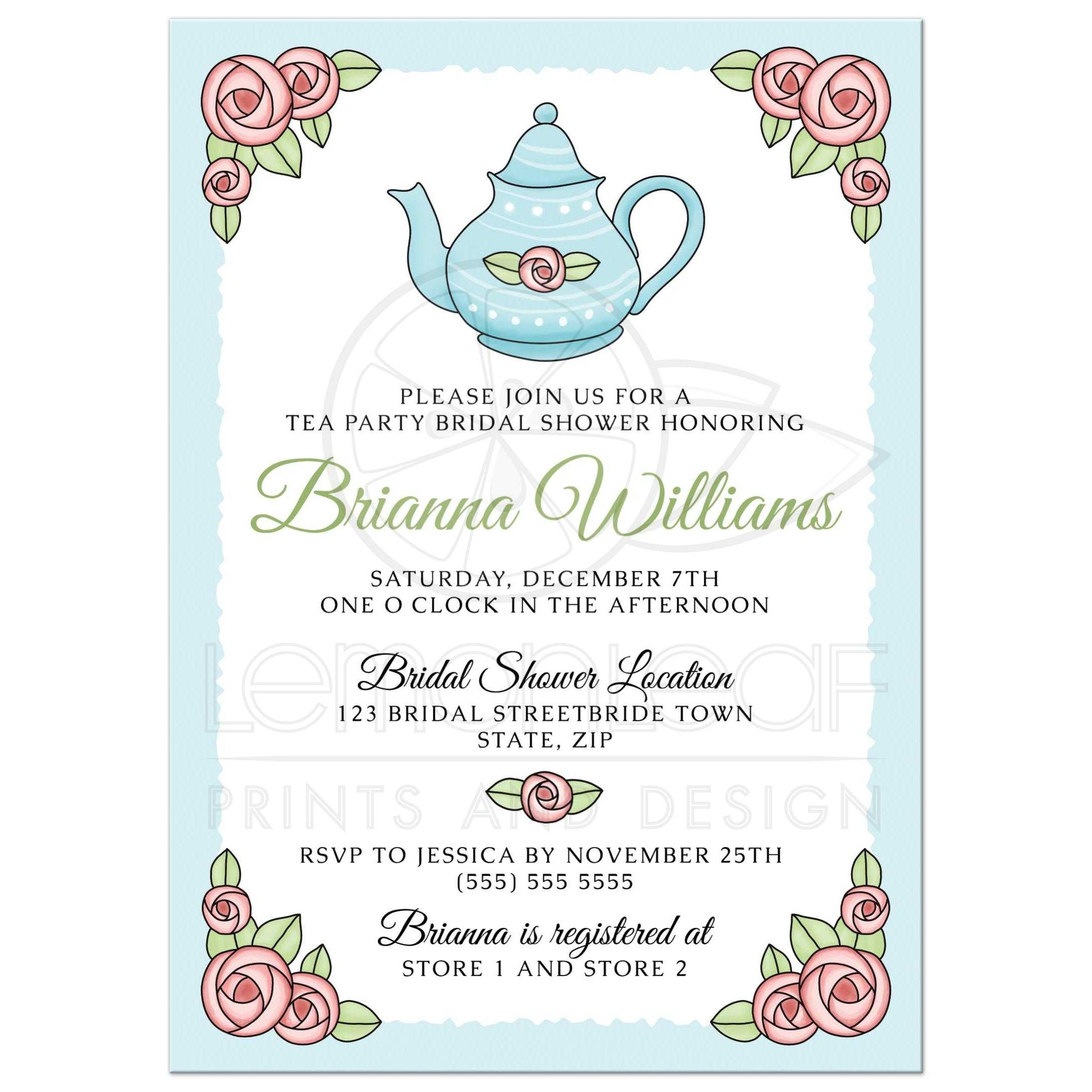 Romantic tea party bridal shower invitations with pink roses and teapot please note that all designs on lemon leaf prints are flat printed designs all embellishments of ribbons bows flowers glitter buckles lace brooches filmwisefo