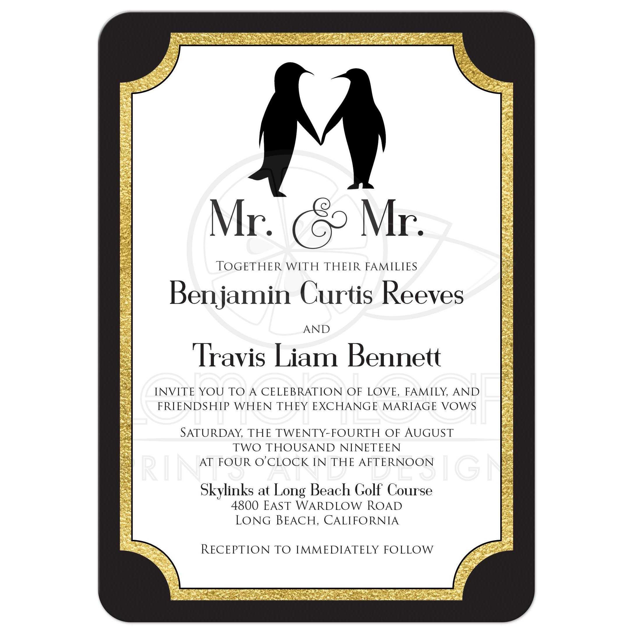 Black White Wedding Invitations: Dapper Penguins Gay Wedding Invitation