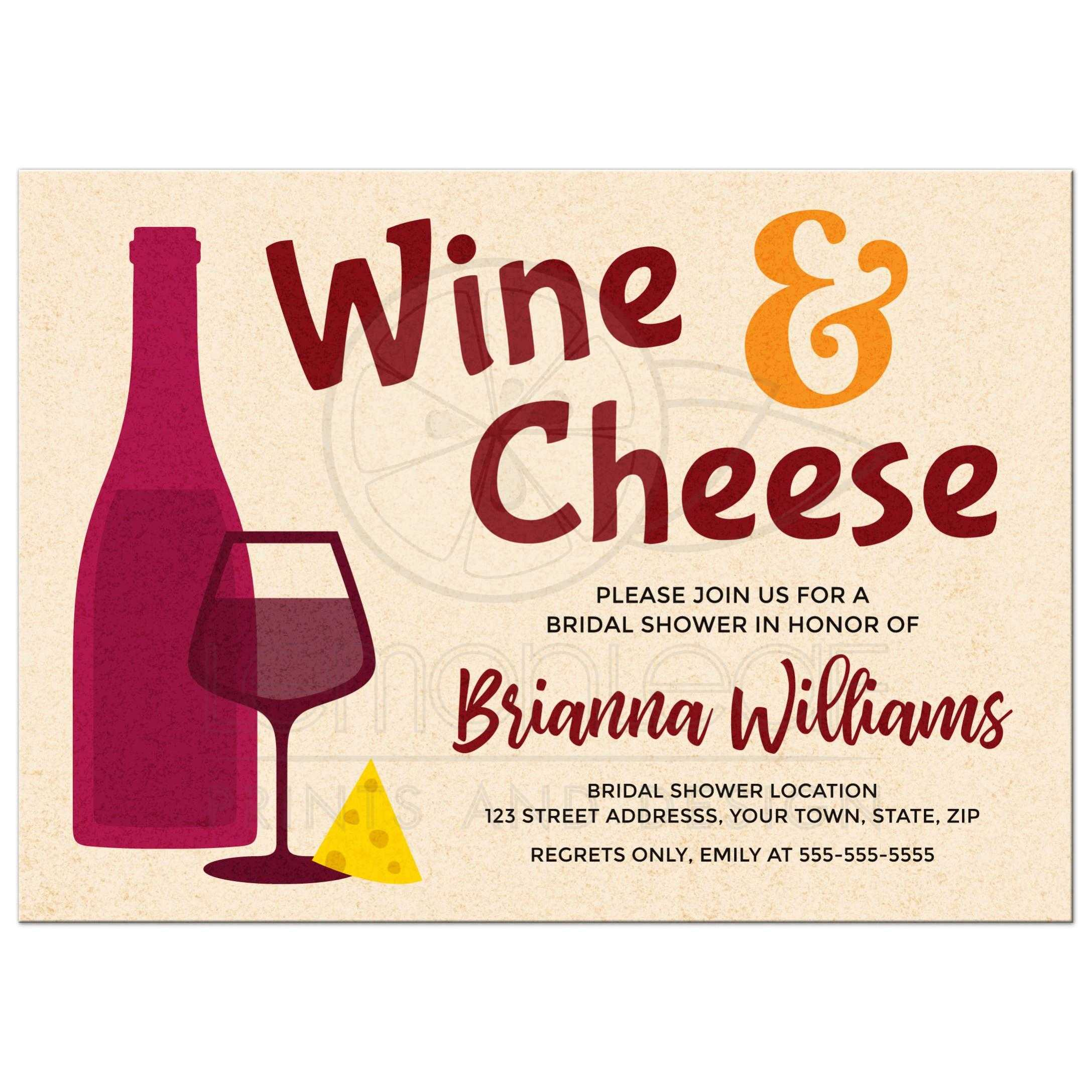 Wine and cheese bridal shower invitations with bottle and glass