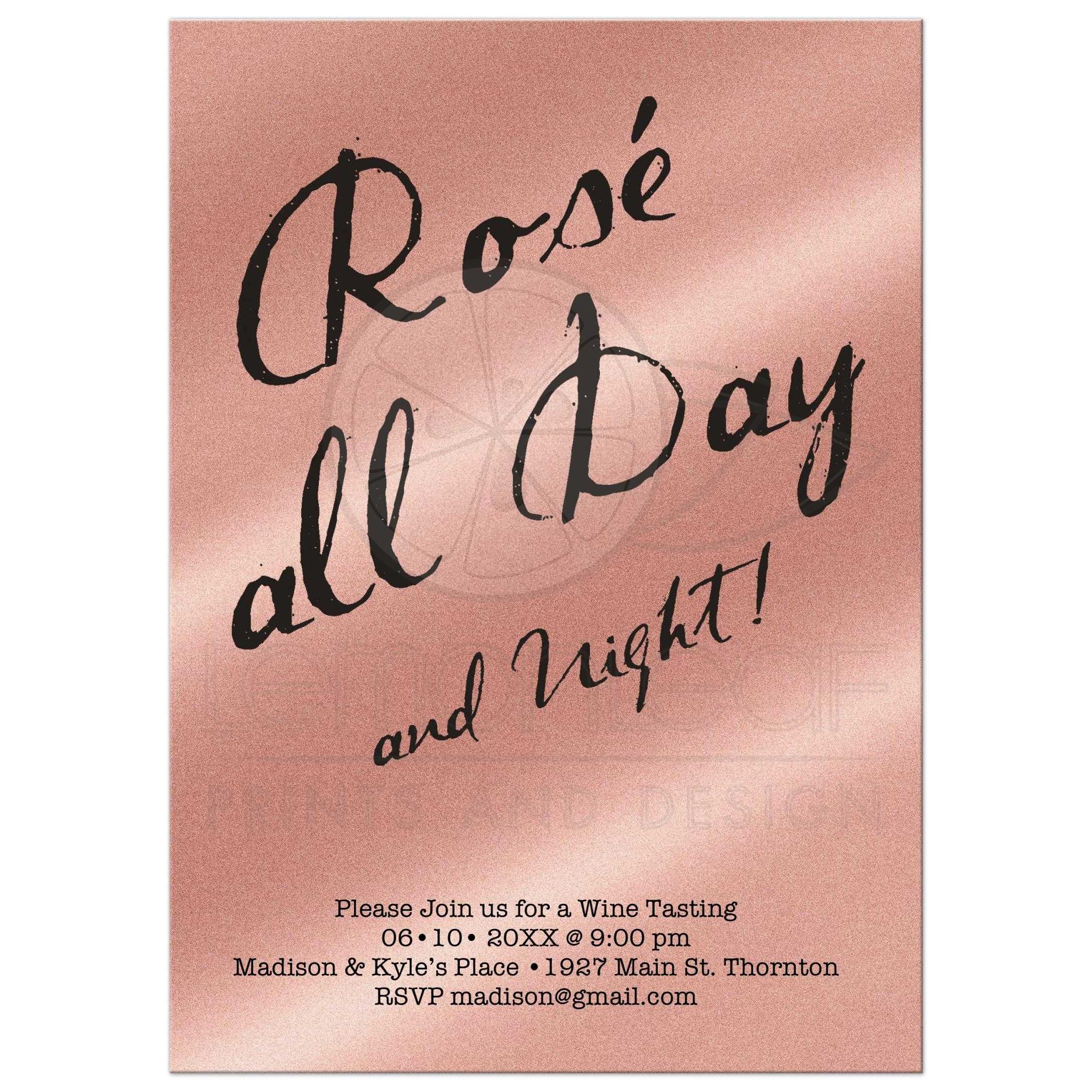 rosé all day and night wine tasting party invitation