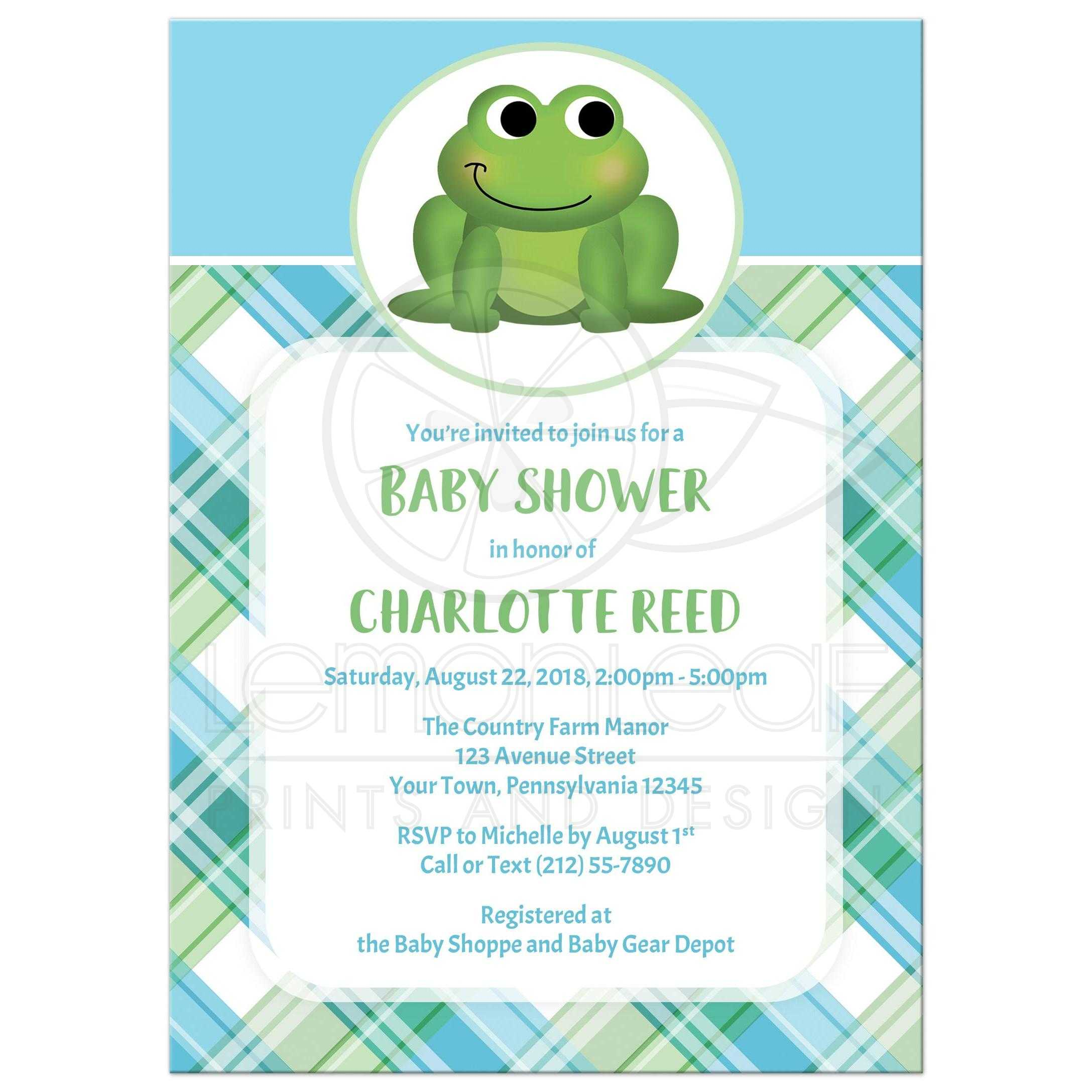 Baby Shower Invitations Adorable Frog Green And Blue Plaid