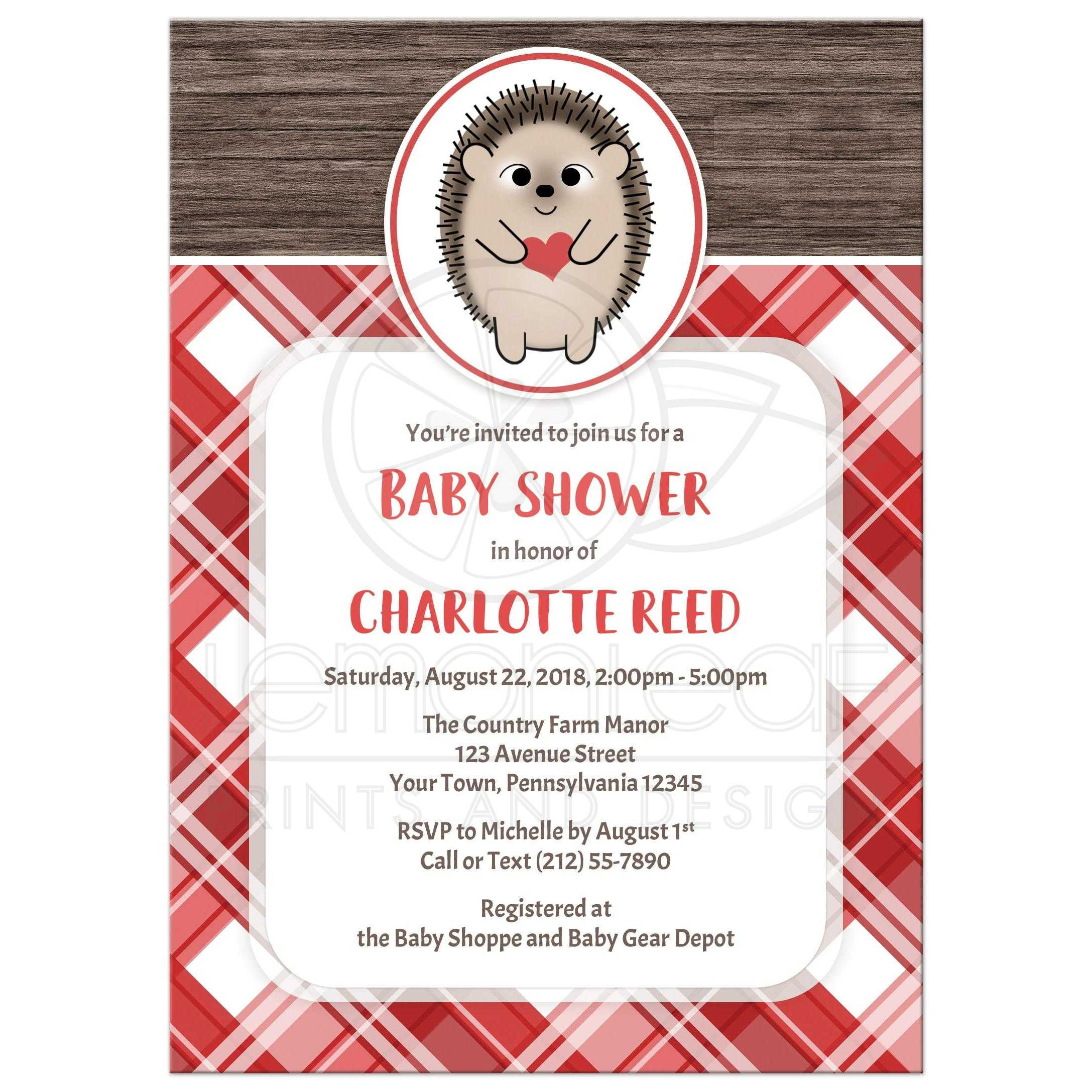 54338 Rectangle Rustic Hedgehog Heart Wood Red Plaid Baby Shower Invitations Jpg T 1525889885