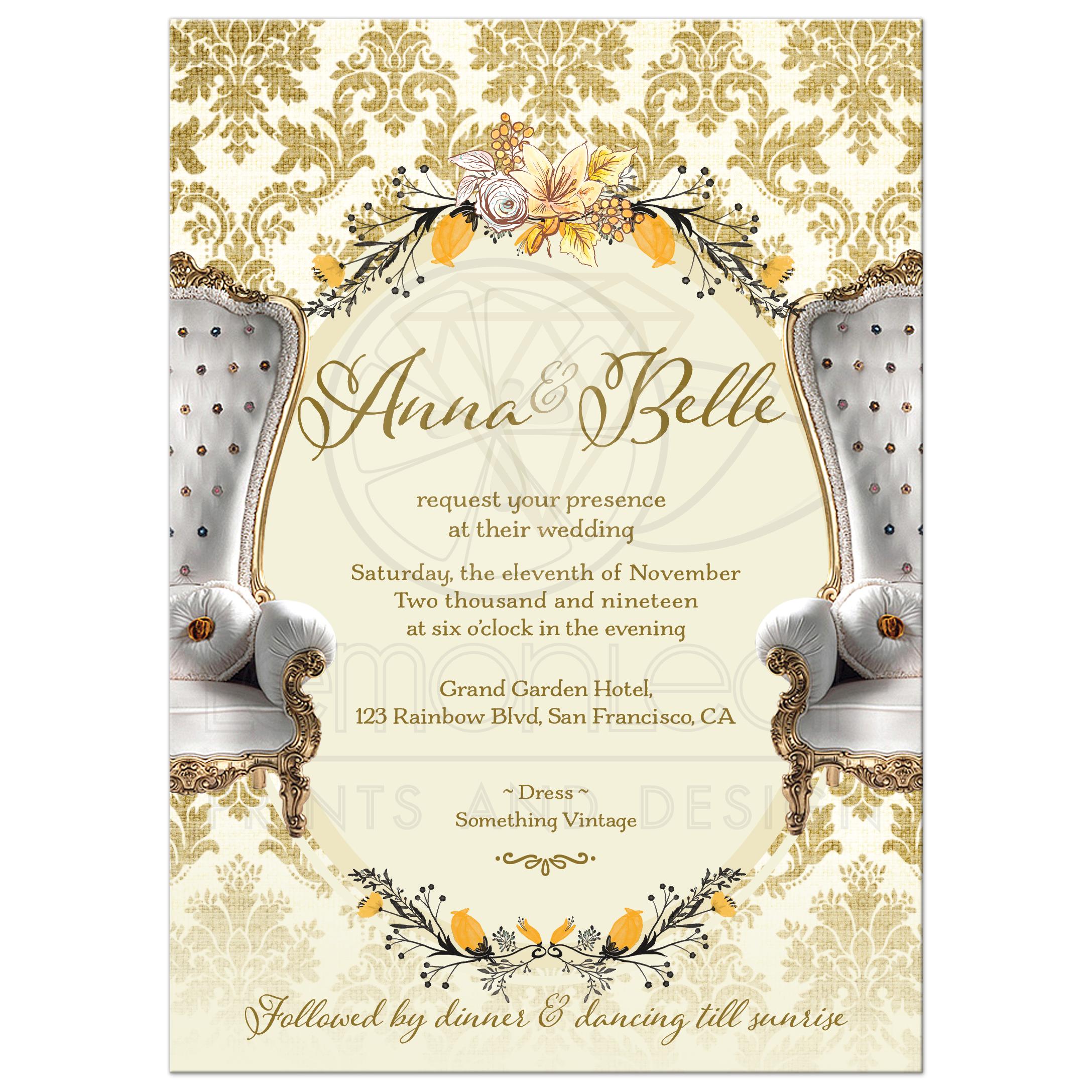 Vintage Gold Damask Same-sex Wedding Invitation