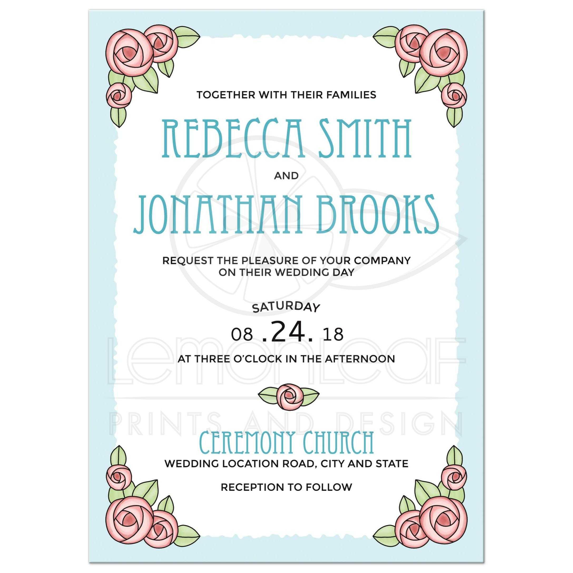 Romantic rose wedding invitations   Pretty, floral design in pink ...