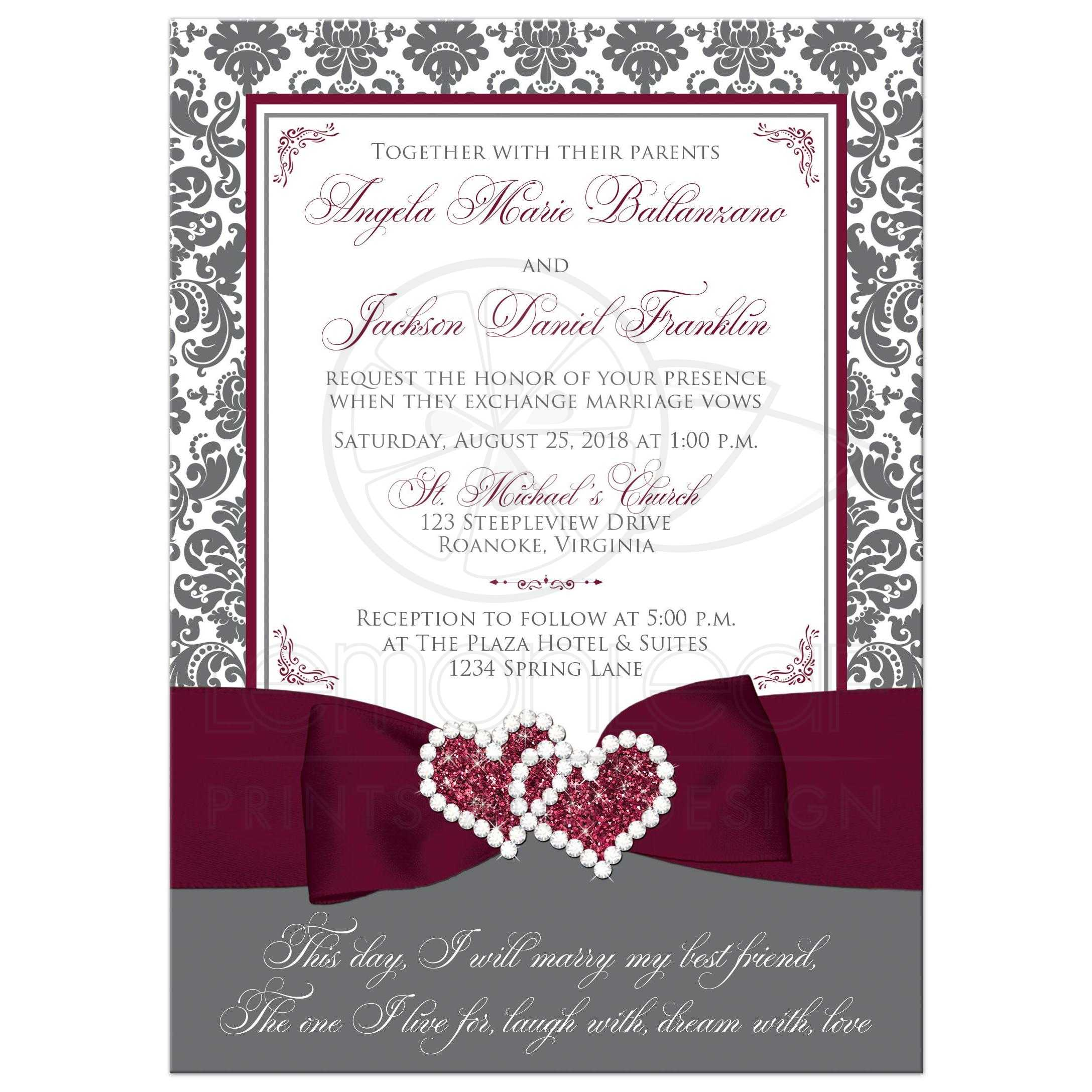 Home Decor Party Business Gray White Damask Wedding Invitation Printed On Burgundy