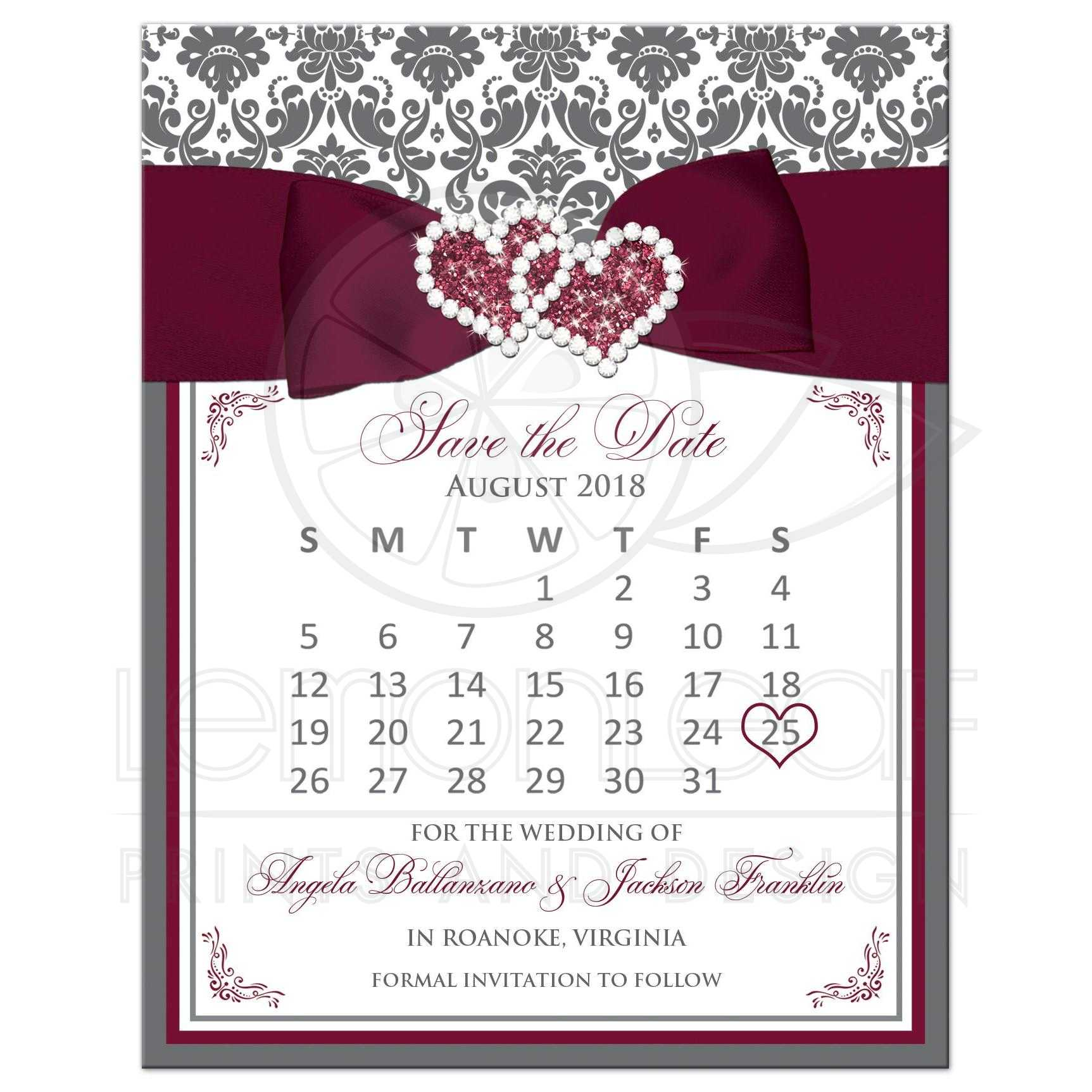 Wedding Save The Dates.Burgundy White Gray Damask Wedding Save The Date Card