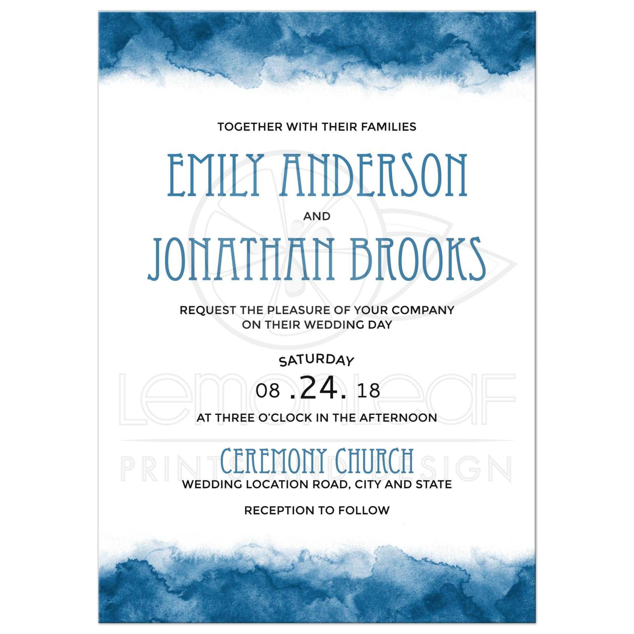 Blue watercolor borders wedding invitations