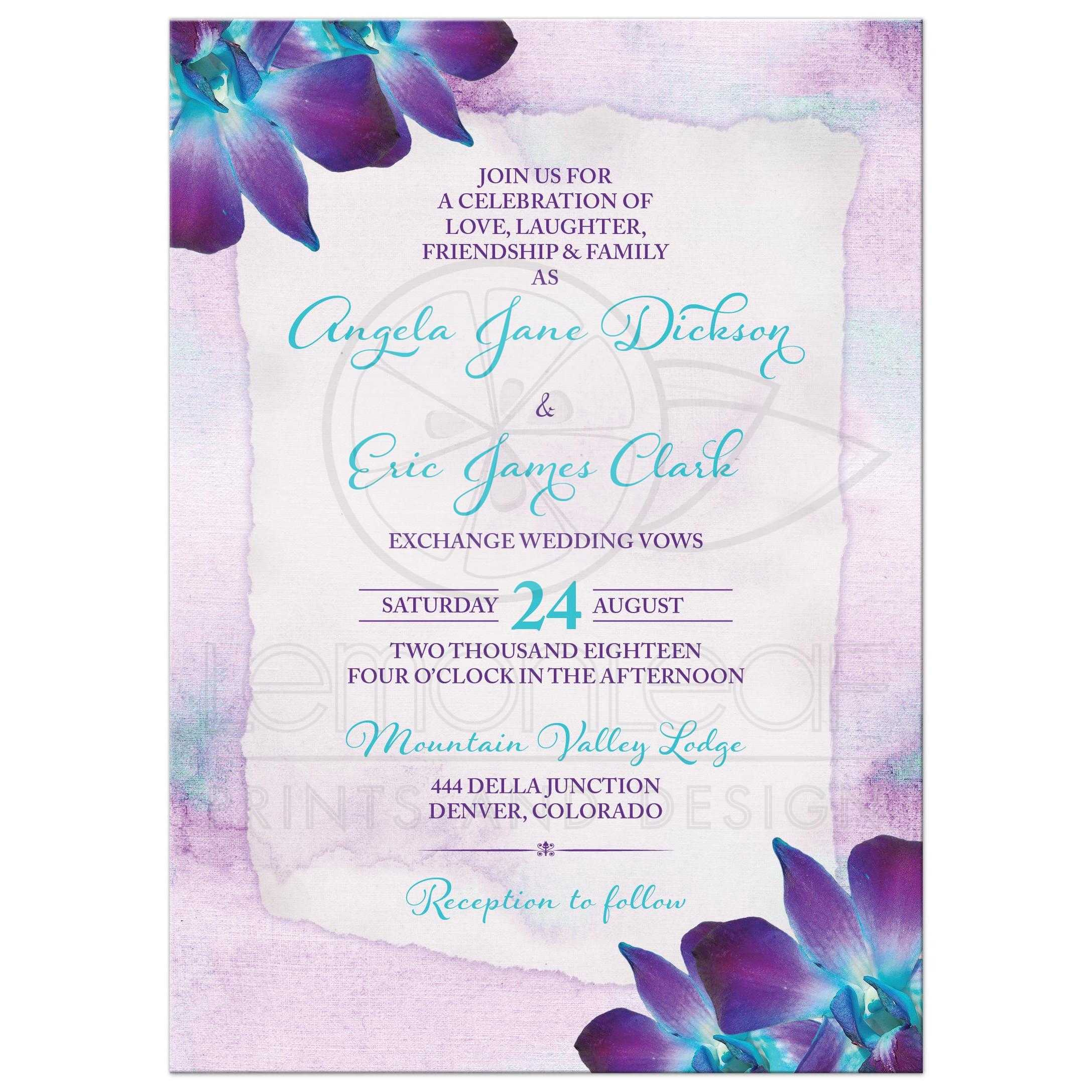 Turquoise And Purple Blue Dendrobium Orchid Flower Wedding Invitation Front: Lavender And Purple Wedding Invite At Websimilar.org