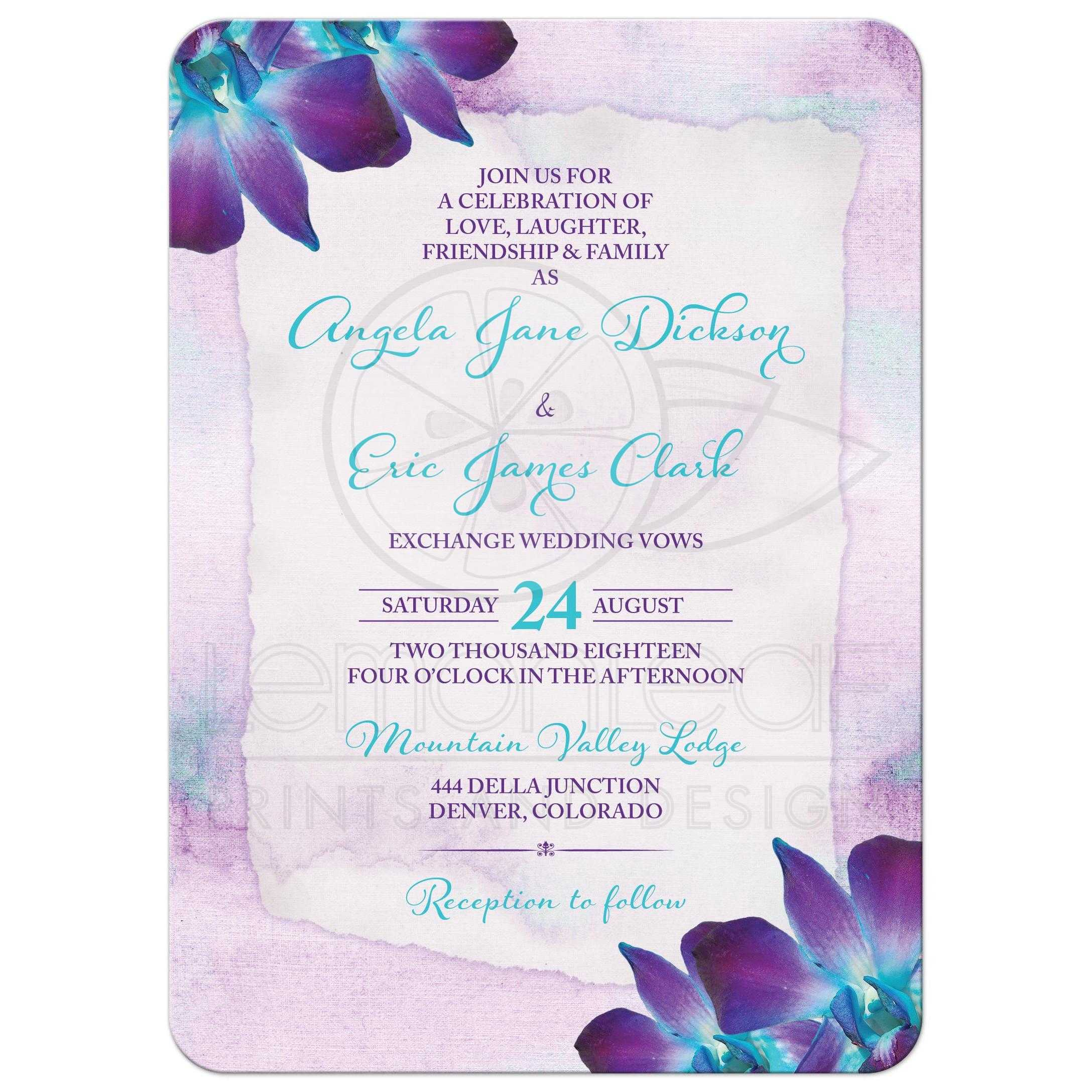 Purple Turquoise Blue Dendrobium Orchid Wedding Invitation