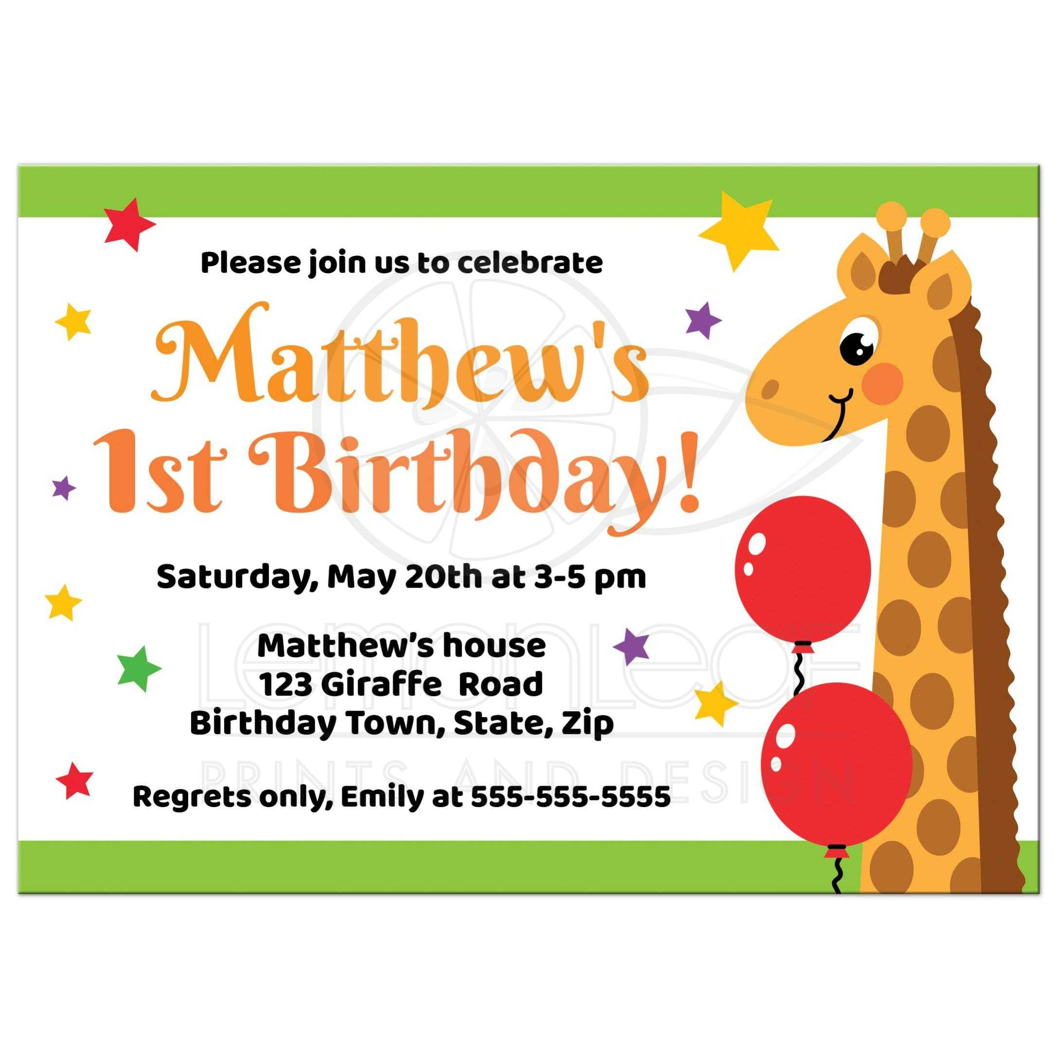 giraffe birthday party invitations for kids