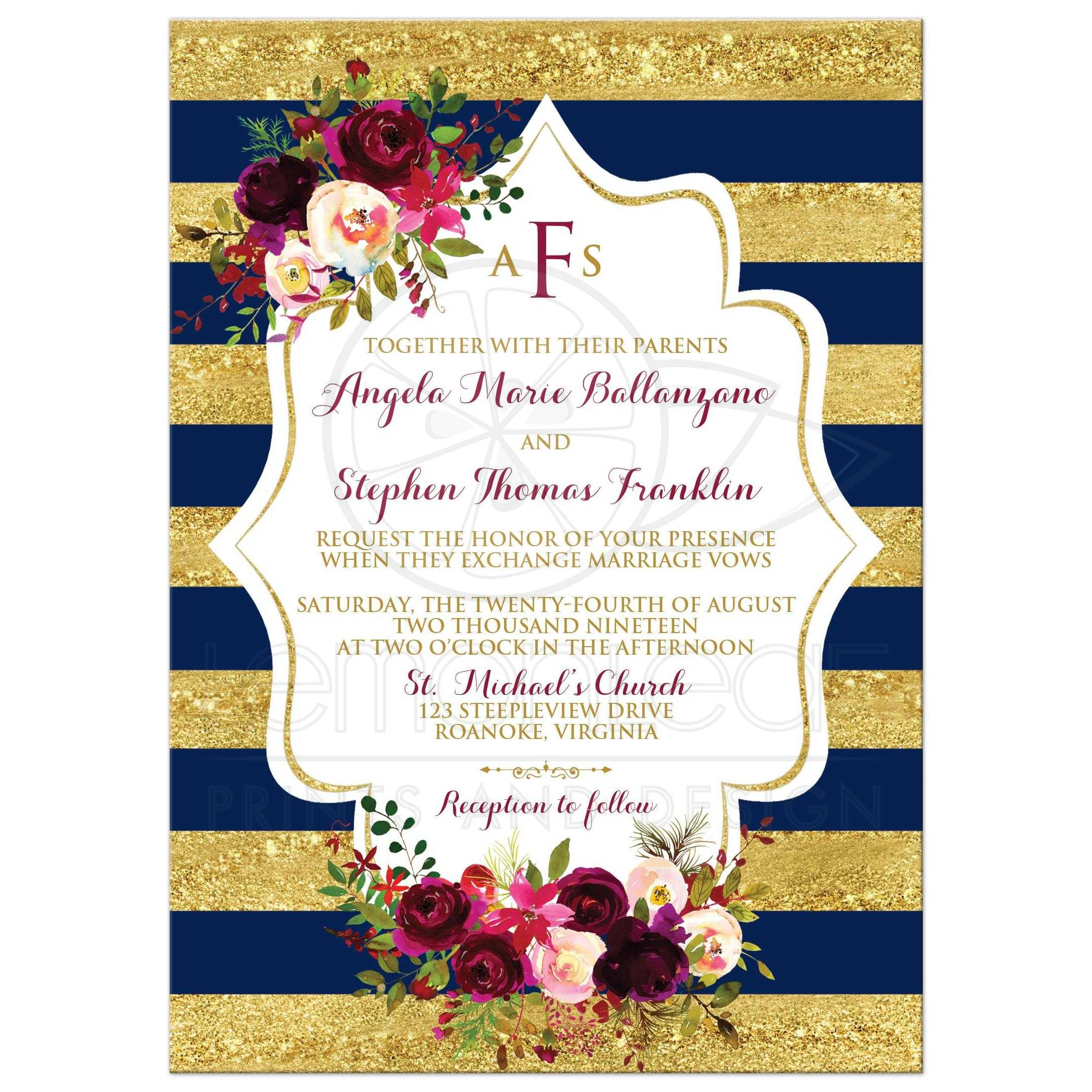 Navy Gold Simulated Striped Wedding Invite Burgundy Floral