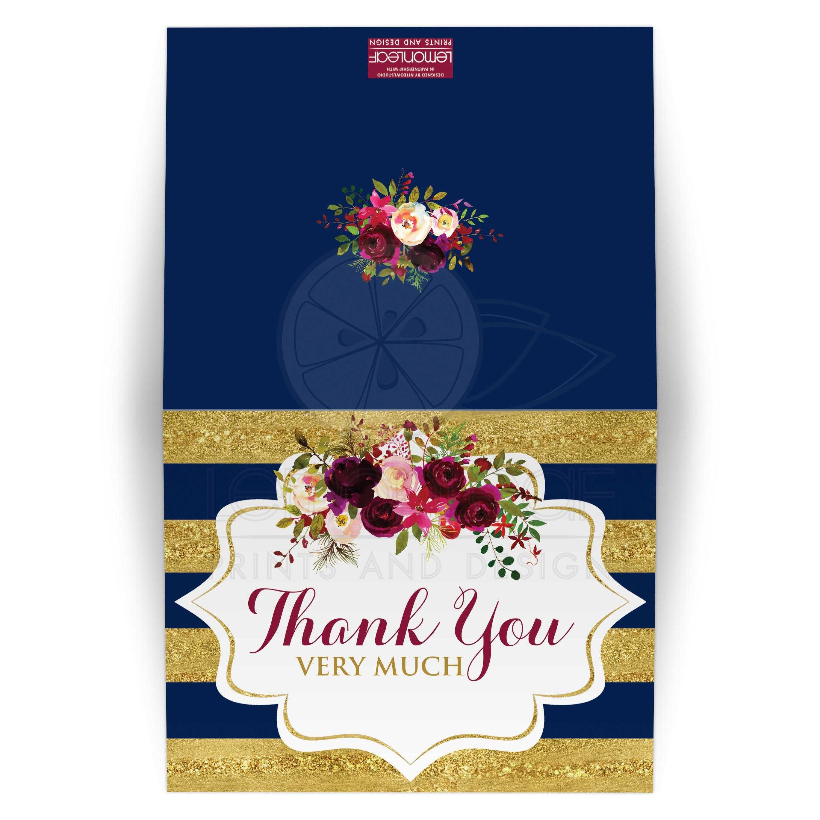 Watercolor Floral Thank You Card Burgundy Navy Gold Simulated