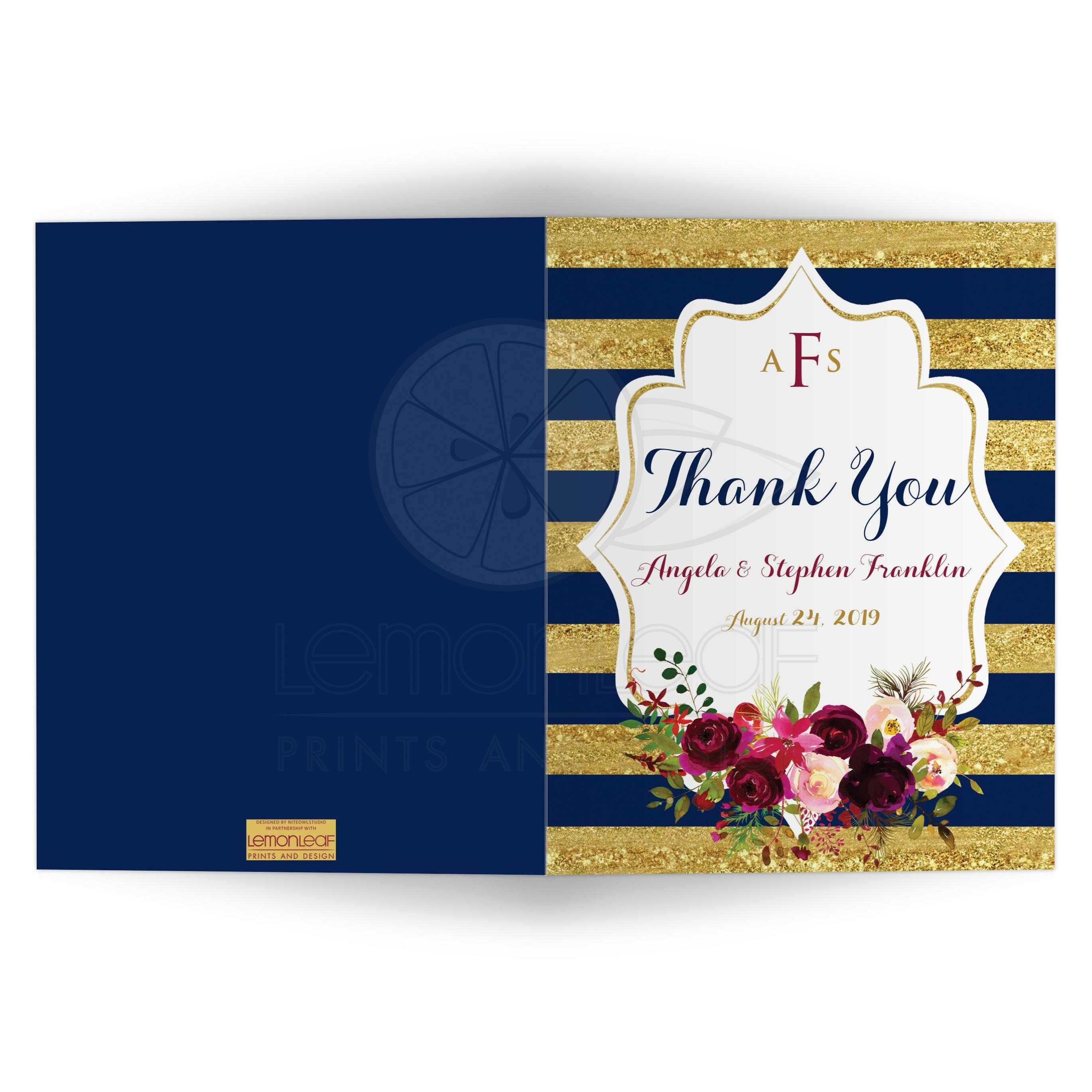 Monogrammed Navy Striped Thank You Card