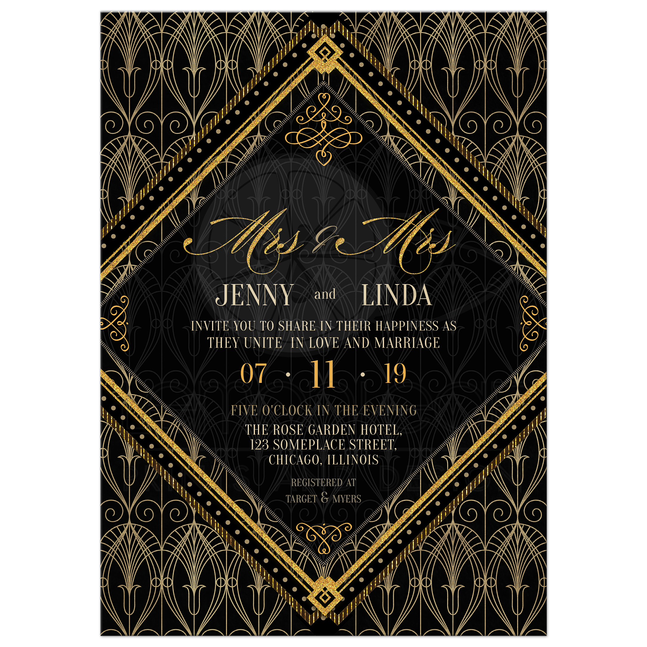 Art Deco Wedding Invitations.Black And Gold Art Deco Wedding Invitation